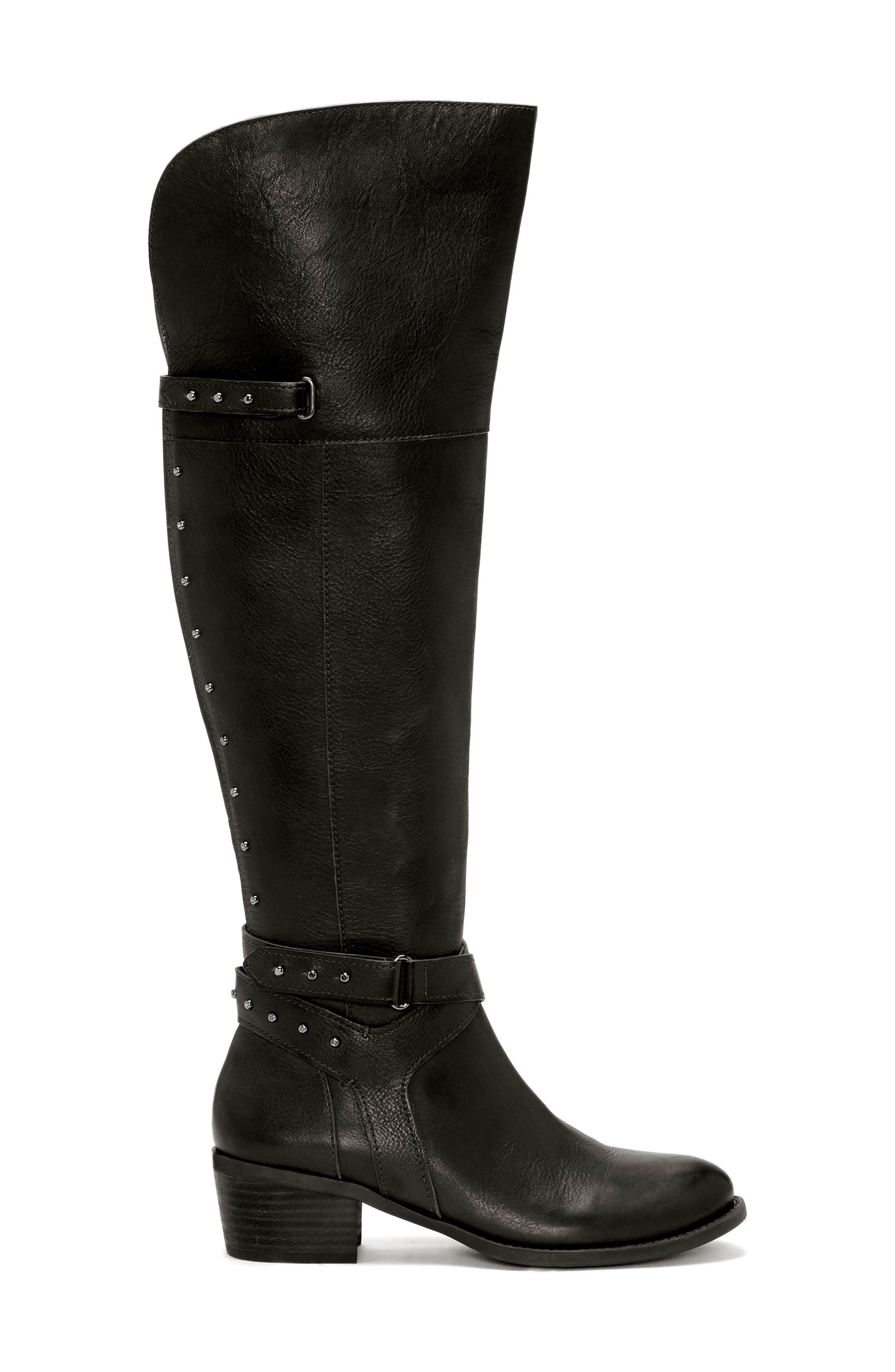 Bestant Over the Knee Boot,                             Alternate thumbnail 3, color,                             BLACK LEATHER WIDE CALF