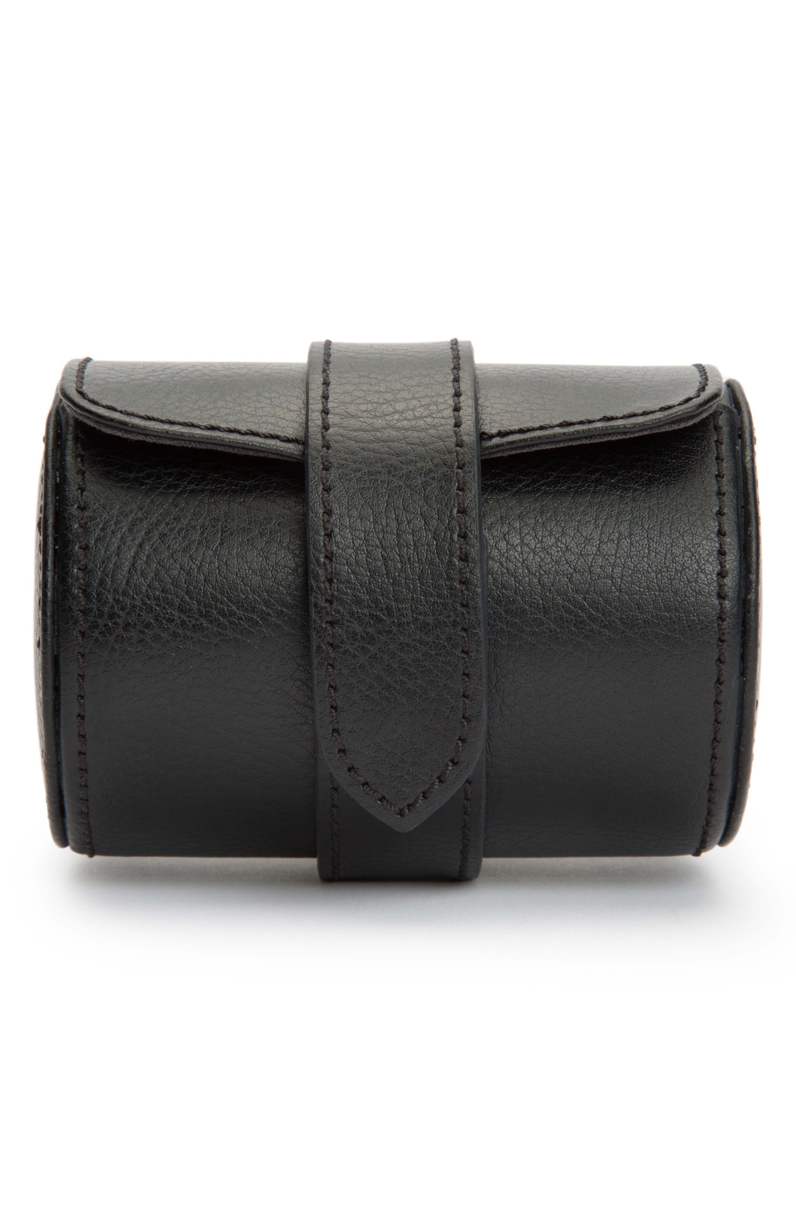 Blake Leather Watch Roll, Main, color, BLACK