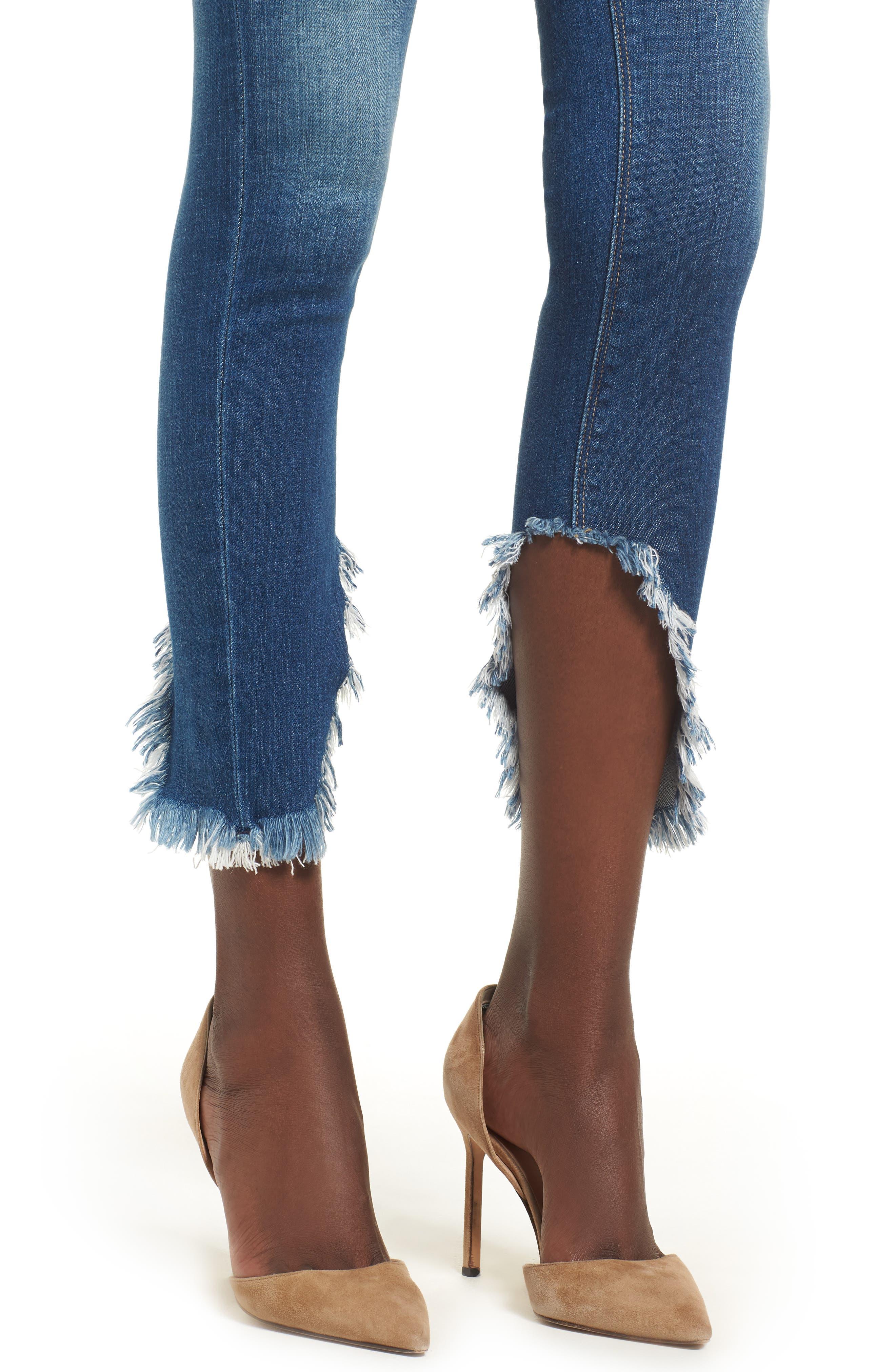 Nico Ankle Super Skinny Jeans,                             Alternate thumbnail 4, color,                             BLUE MONDAY