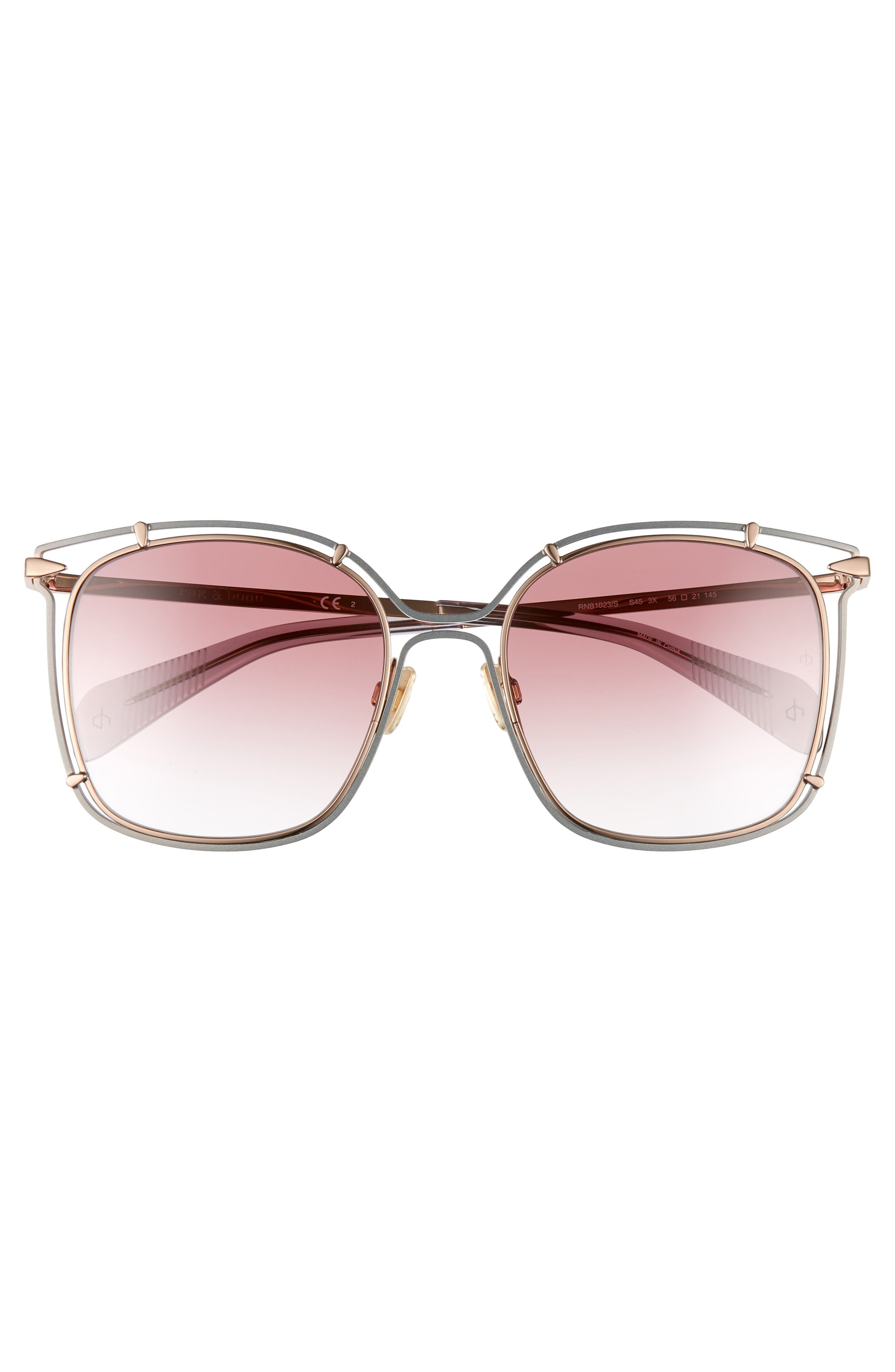 RAG & BONE,                             56mm Gradient Square Sunglasses,                             Alternate thumbnail 3, color,                             GREY/ PINK/ GOLD