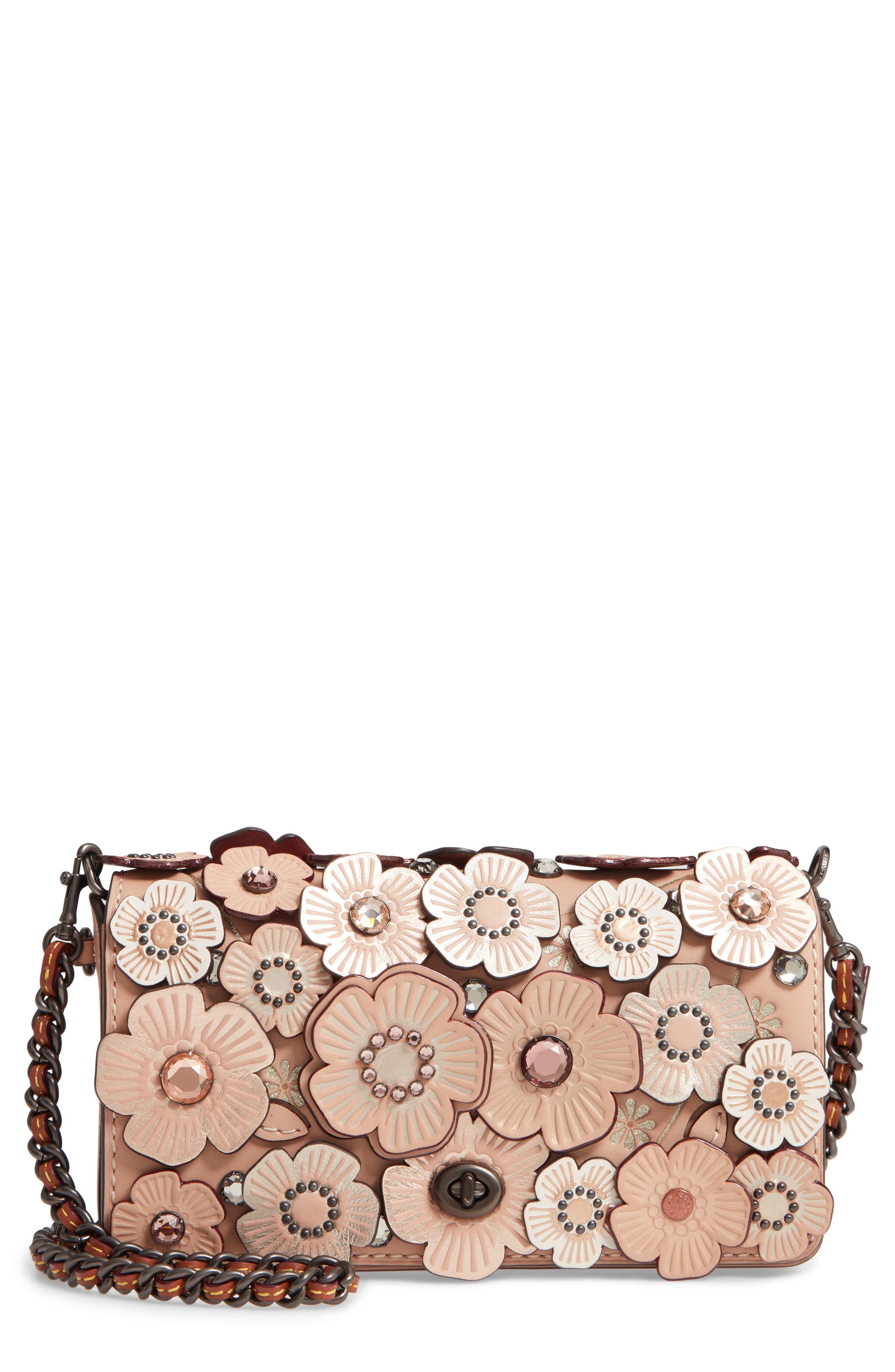Dinky Crystal Tea Rose Appliqué Leather Crossbody Bag, Main, color, 203