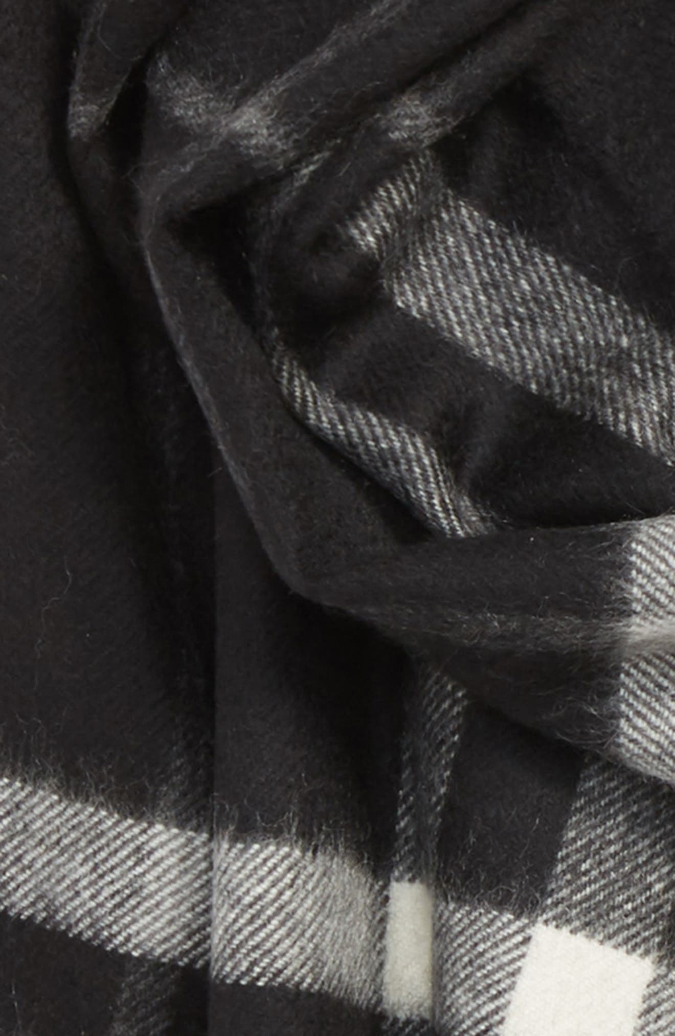 Check Cashmere Scarf,                             Alternate thumbnail 3, color,                             BLACK CHECK