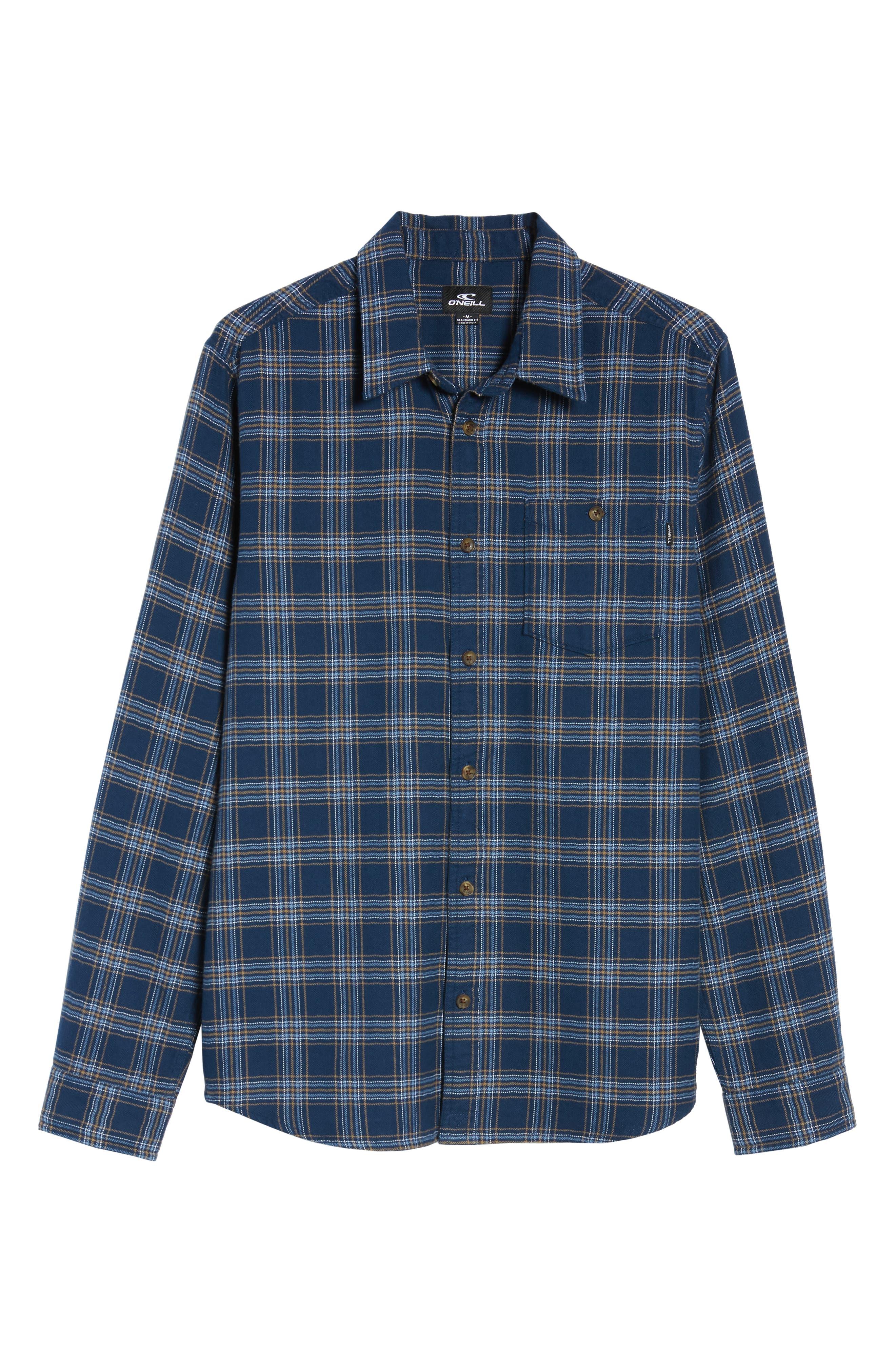 Redmond Flannel Shirt,                             Alternate thumbnail 6, color,                             NAVY