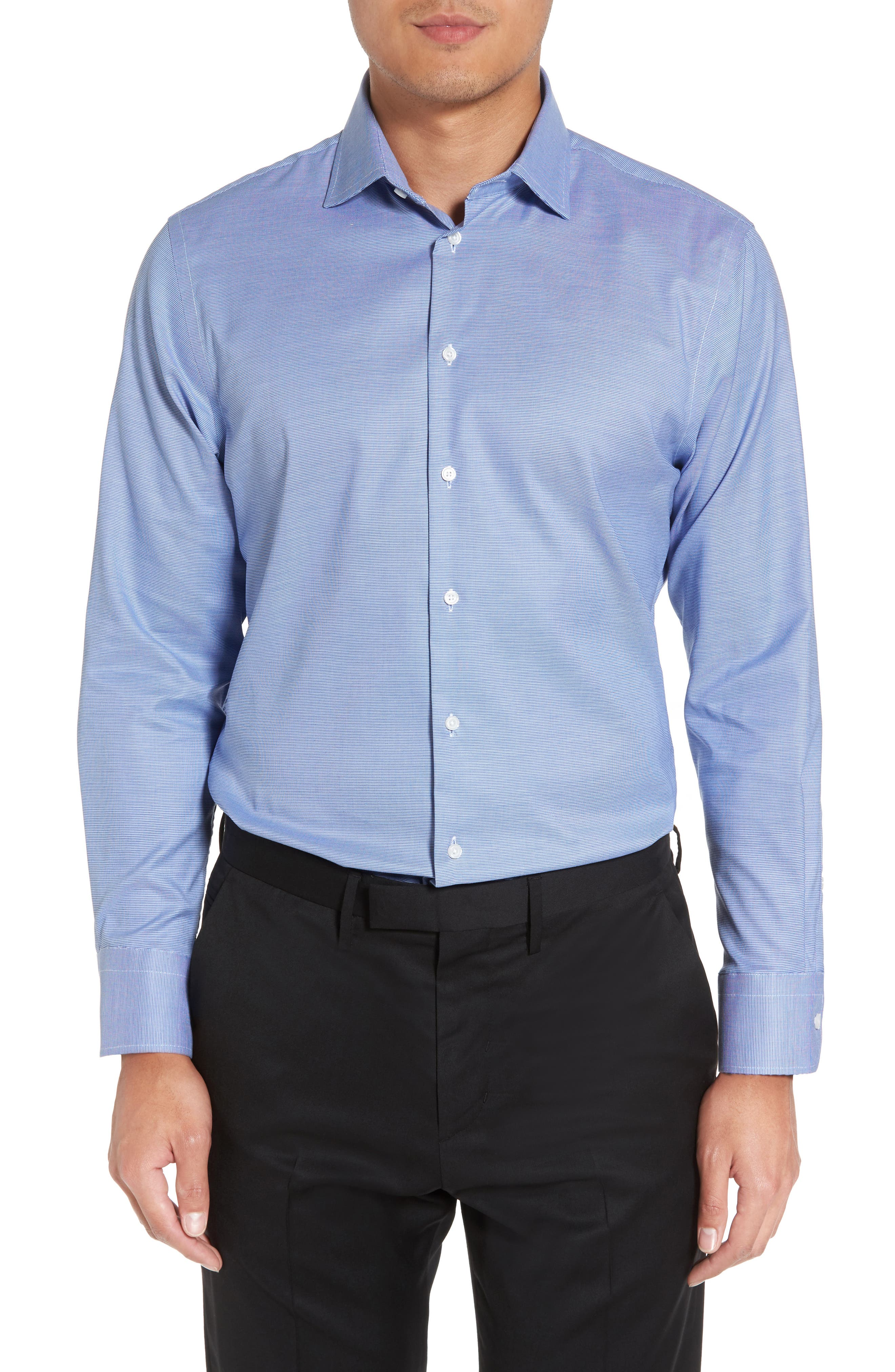 Trim Fit Non-Iron Stretch Solid Dress Shirt,                             Main thumbnail 2, color,