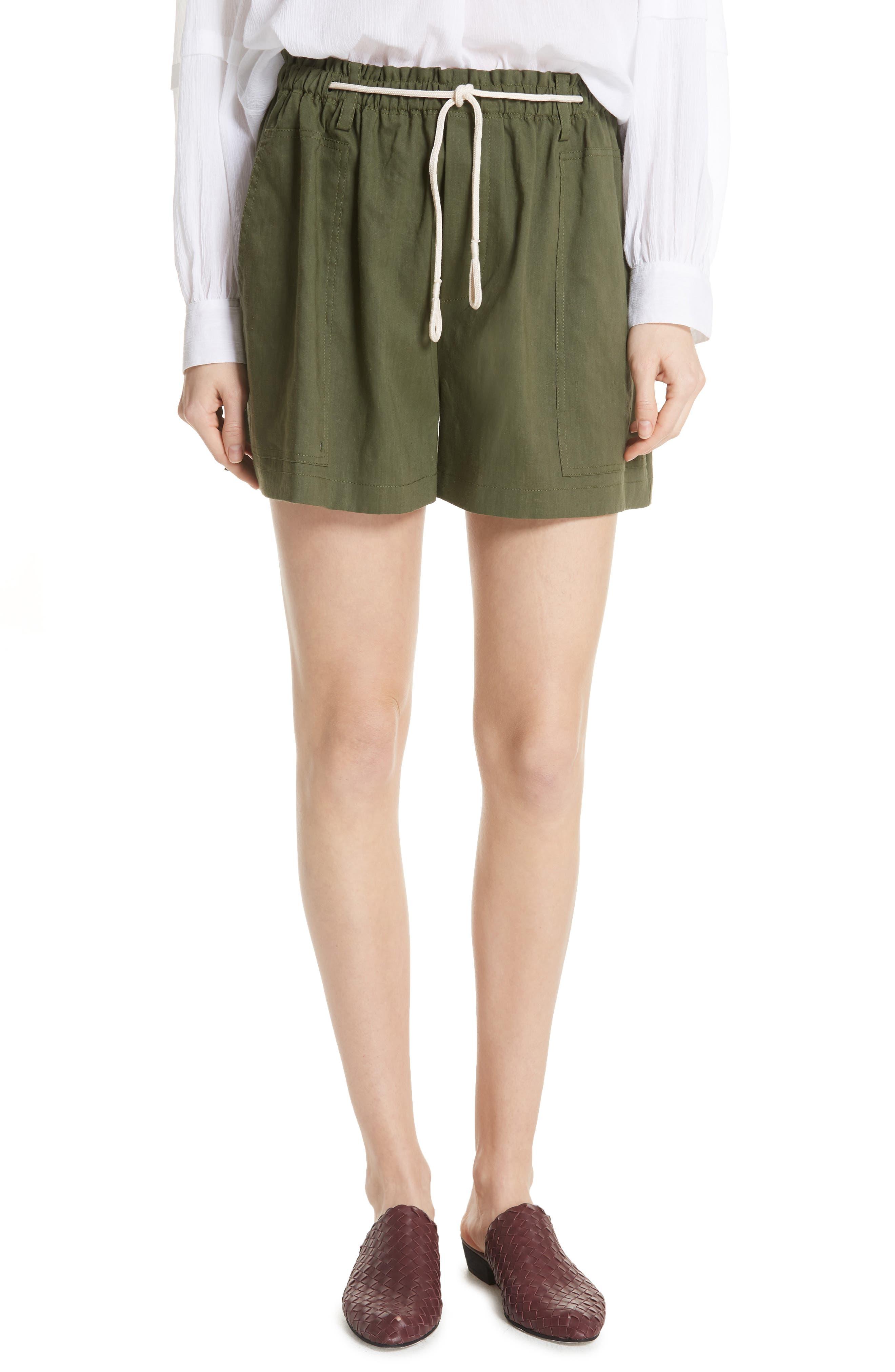 Rope Tie Linen Blend Shorts,                             Main thumbnail 3, color,