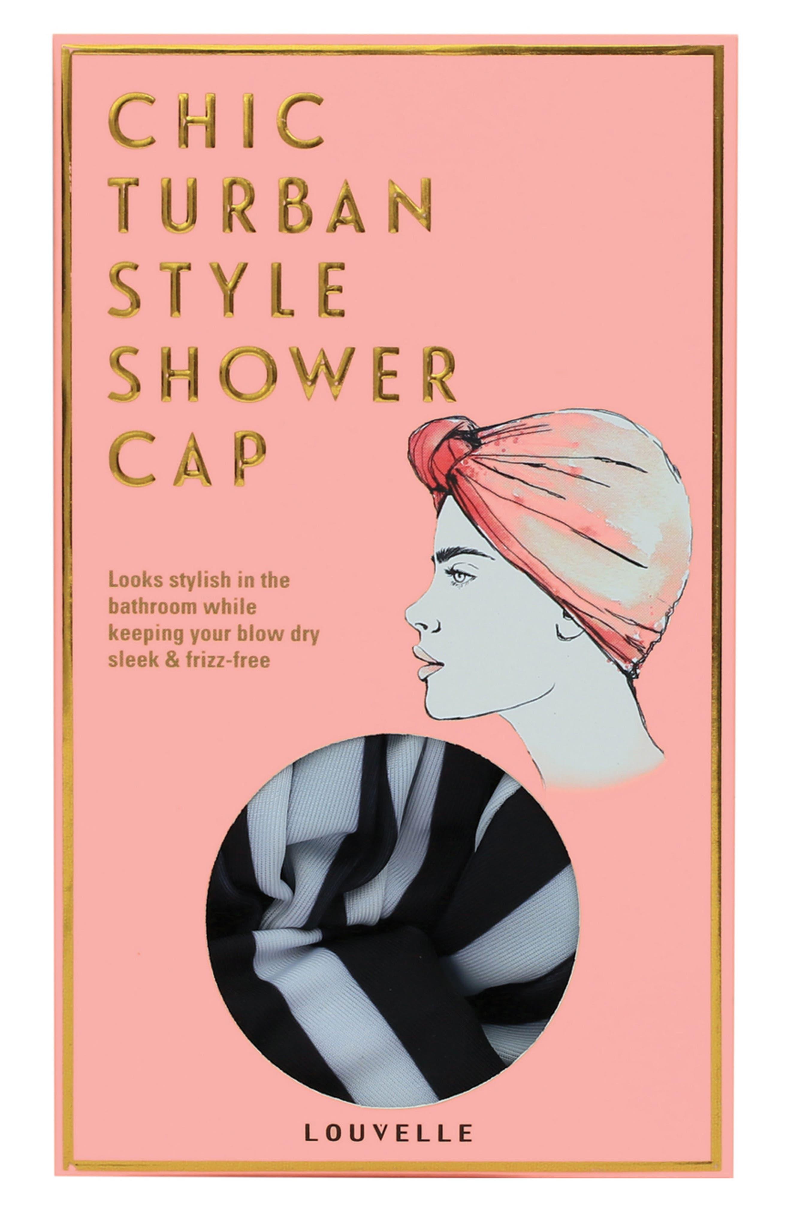 Dahlia Turban Shower Cap,                             Alternate thumbnail 2, color,                             MONOCHROME STRIPE