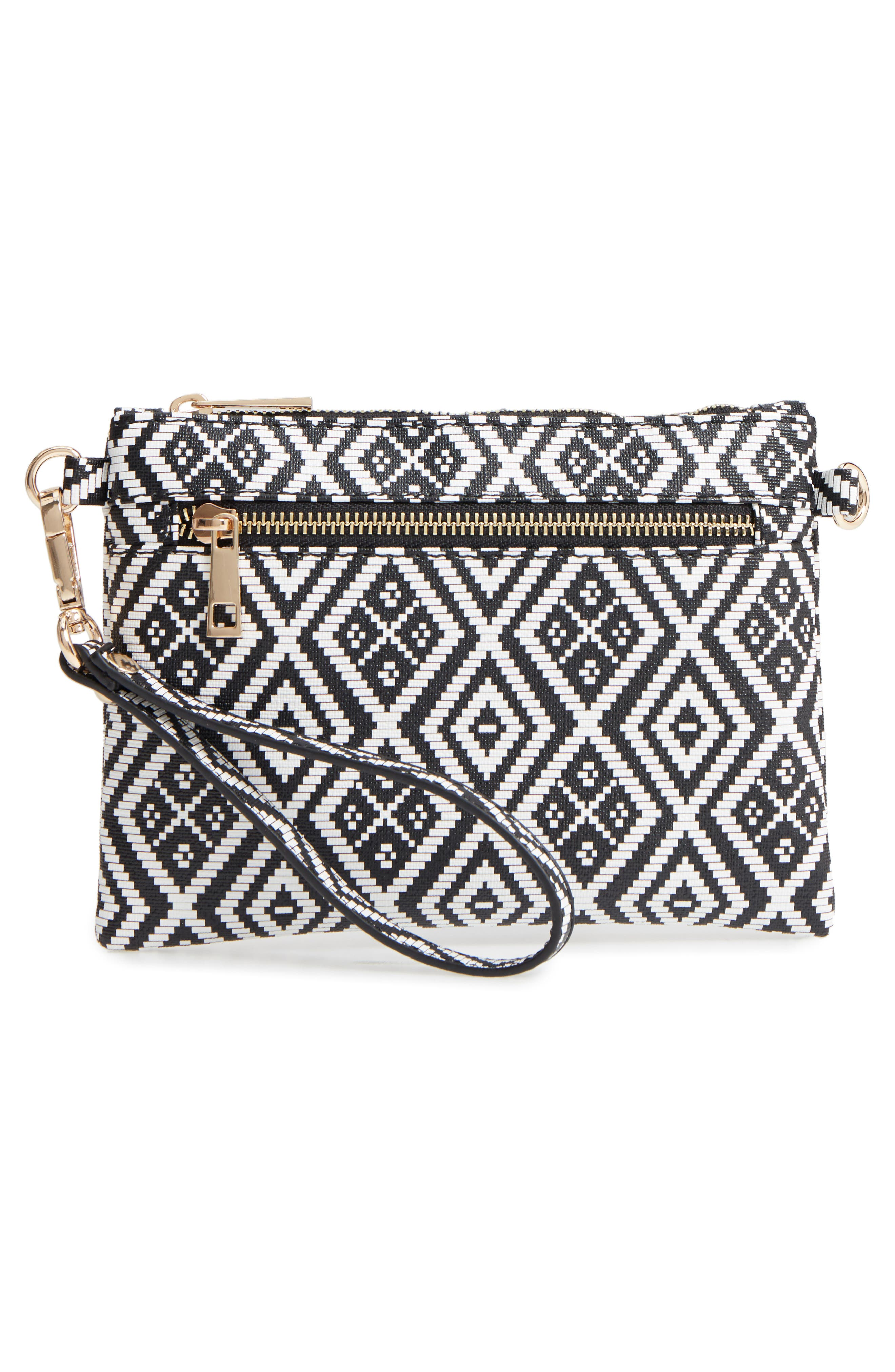 Weave Pattern Convertible Crossbody Wristlet,                             Alternate thumbnail 3, color,                             001