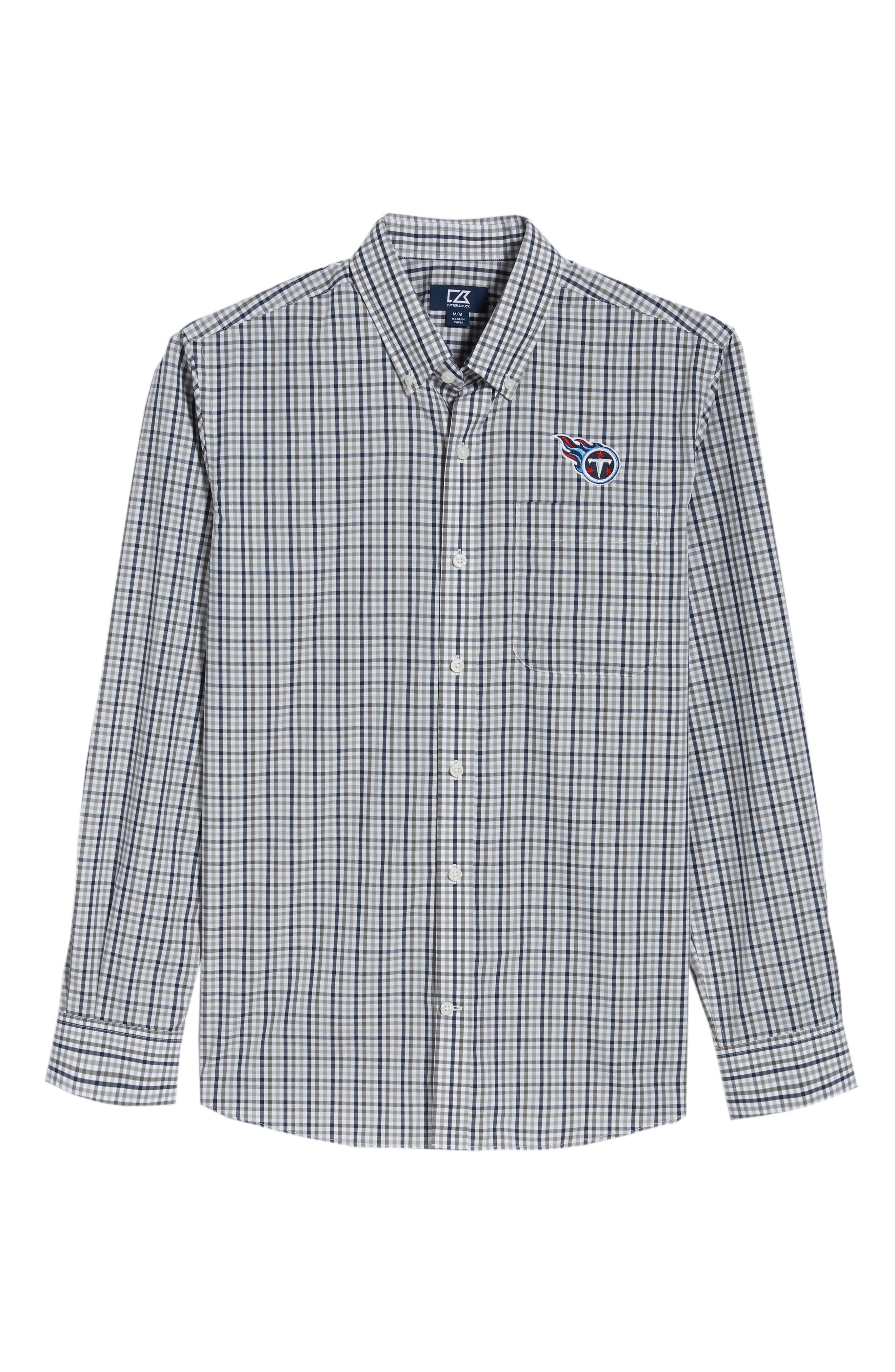 Tennessee Titans - Gilman Regular Fit Plaid Sport Shirt,                             Alternate thumbnail 6, color,                             LIBERTY NAVY
