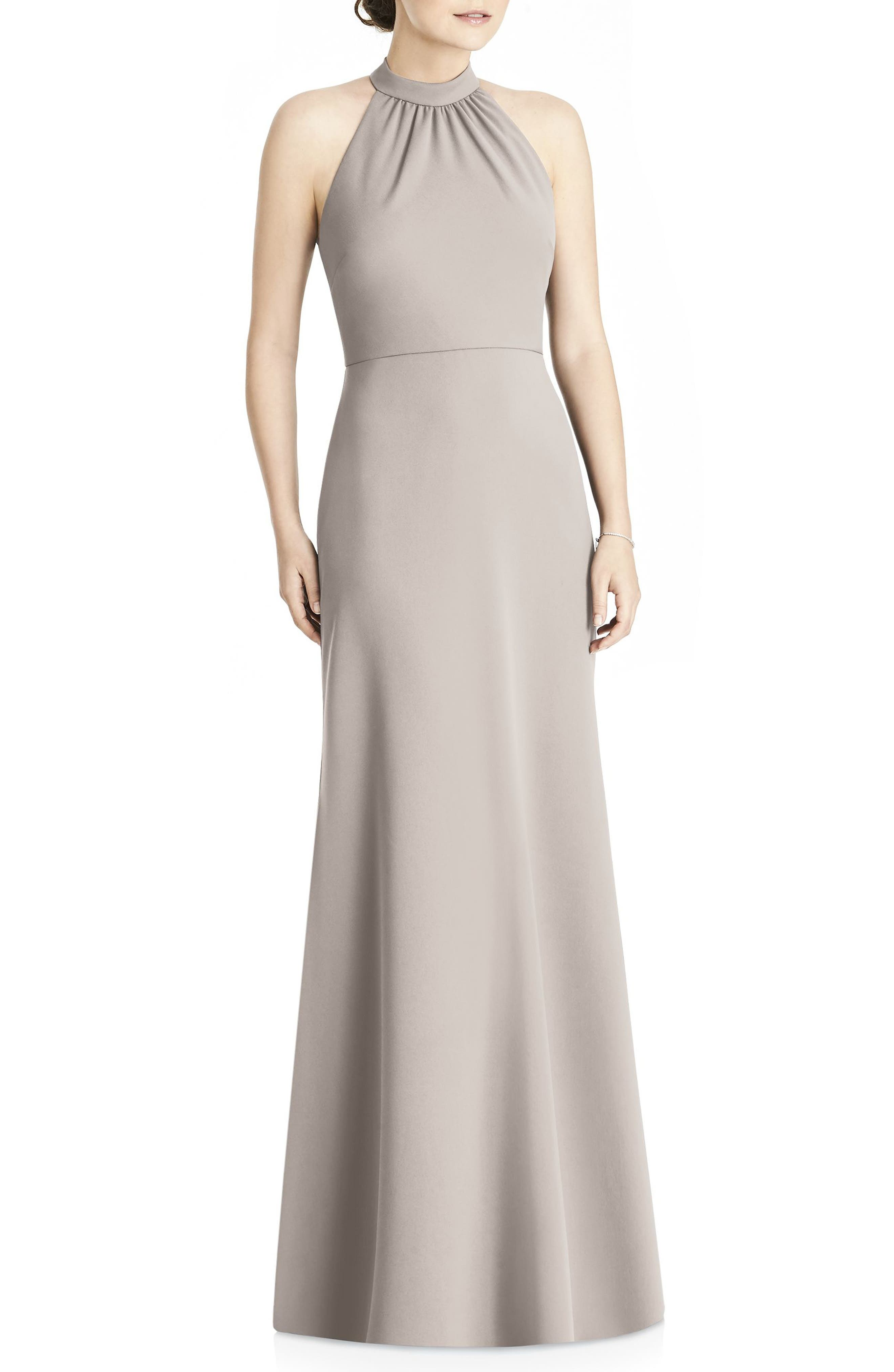 Crepe Halter Gown,                             Main thumbnail 1, color,                             TAUPE