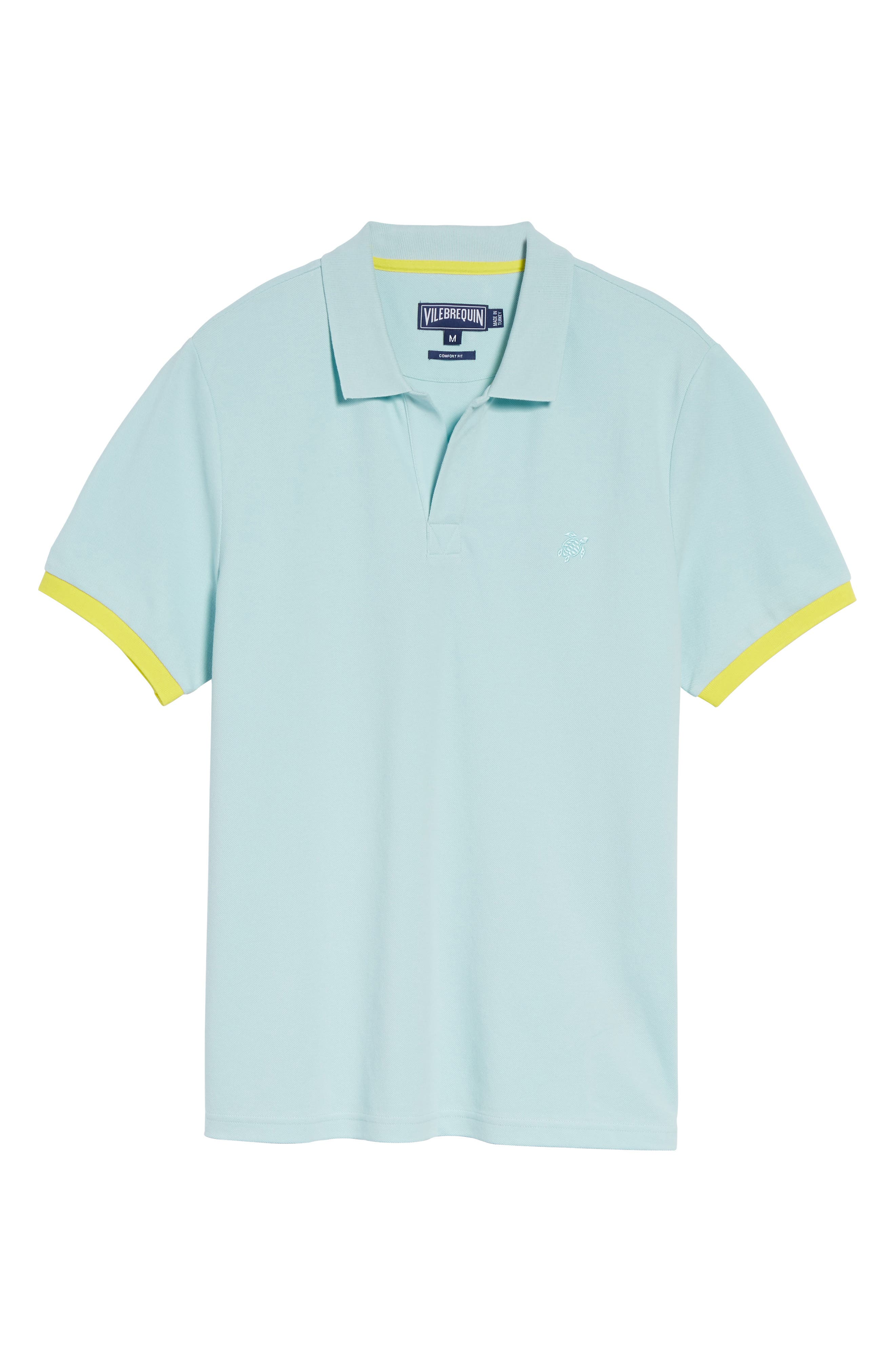 Contrast Cuff Piqué Polo,                             Alternate thumbnail 6, color,                             FROSTED BLUE