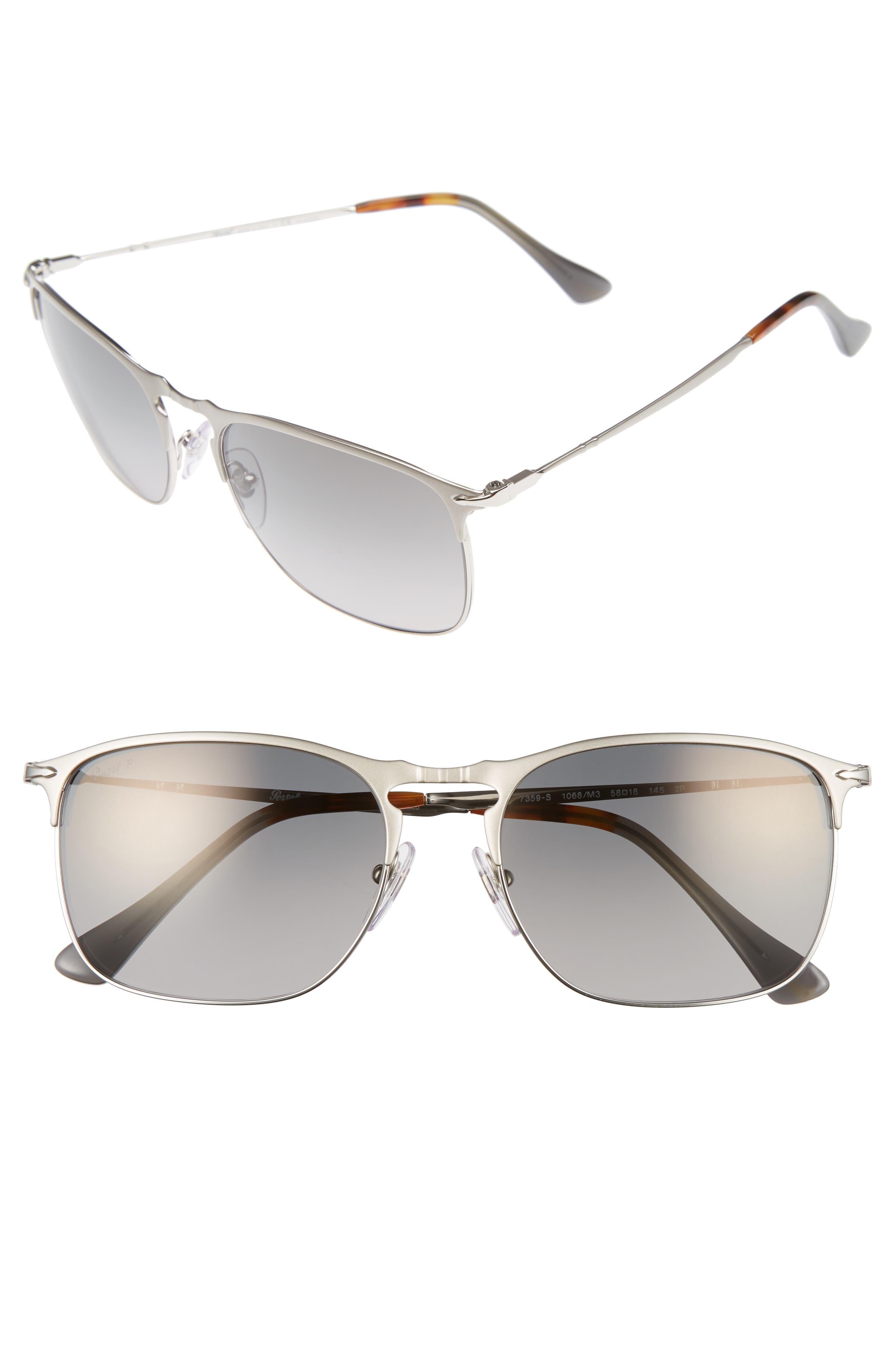Evolution 58mm Polarized Aviator Sunglasses,                             Main thumbnail 1, color,