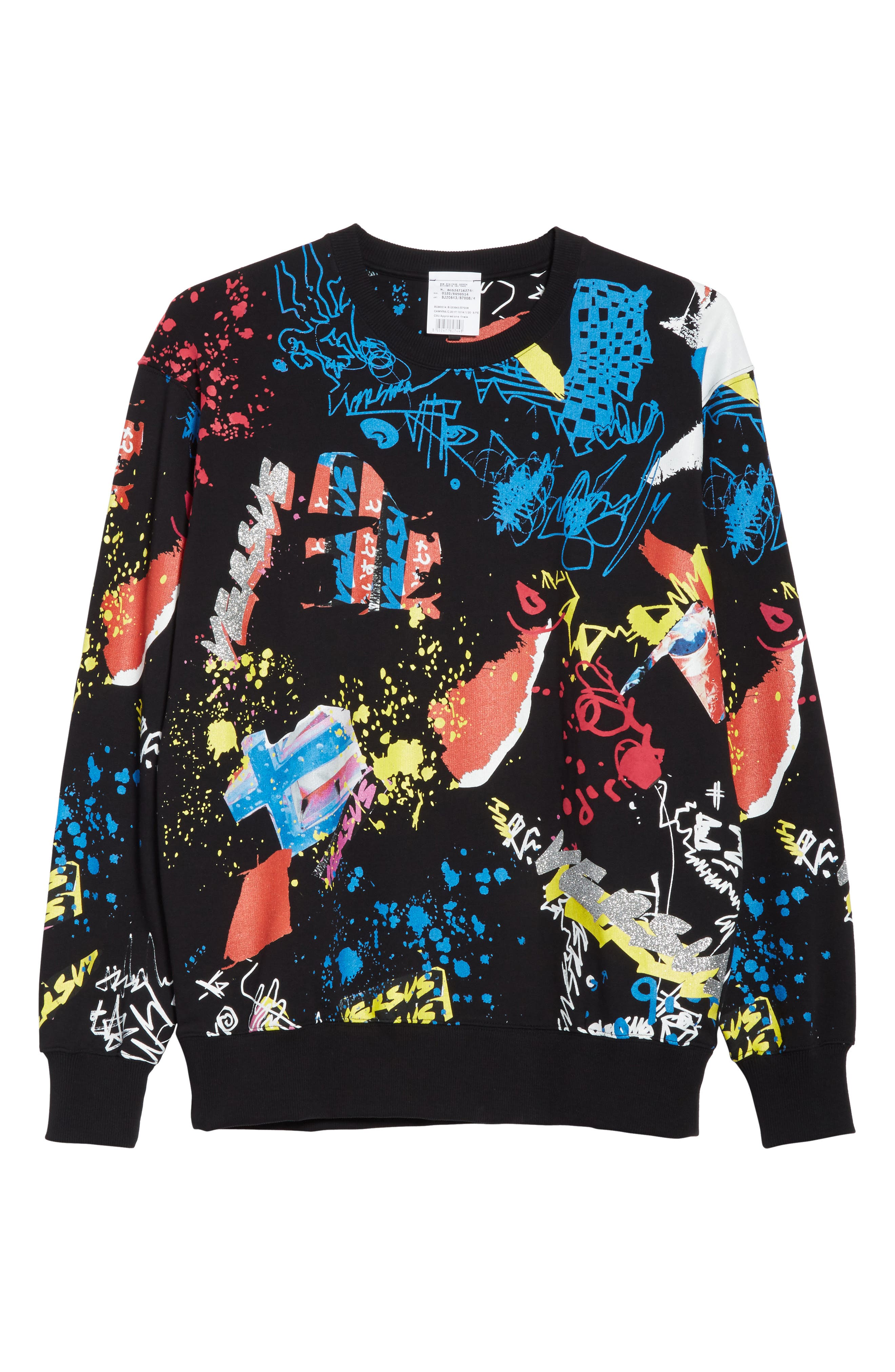 Doodle Glitter Print Sweatshirt,                             Alternate thumbnail 6, color,                             BLACK