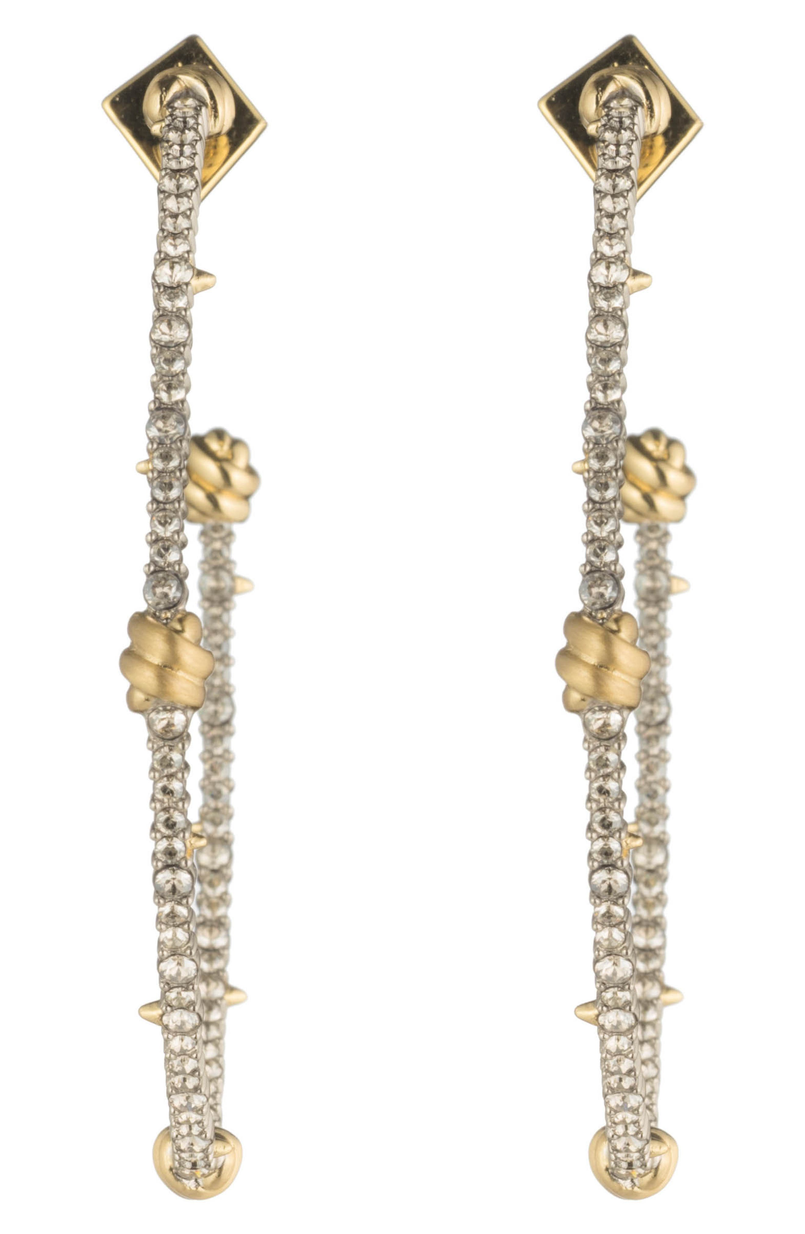 Crystal Pavé Knotted Hoop Earrings,                             Alternate thumbnail 3, color,                             GOLD/ SILVER