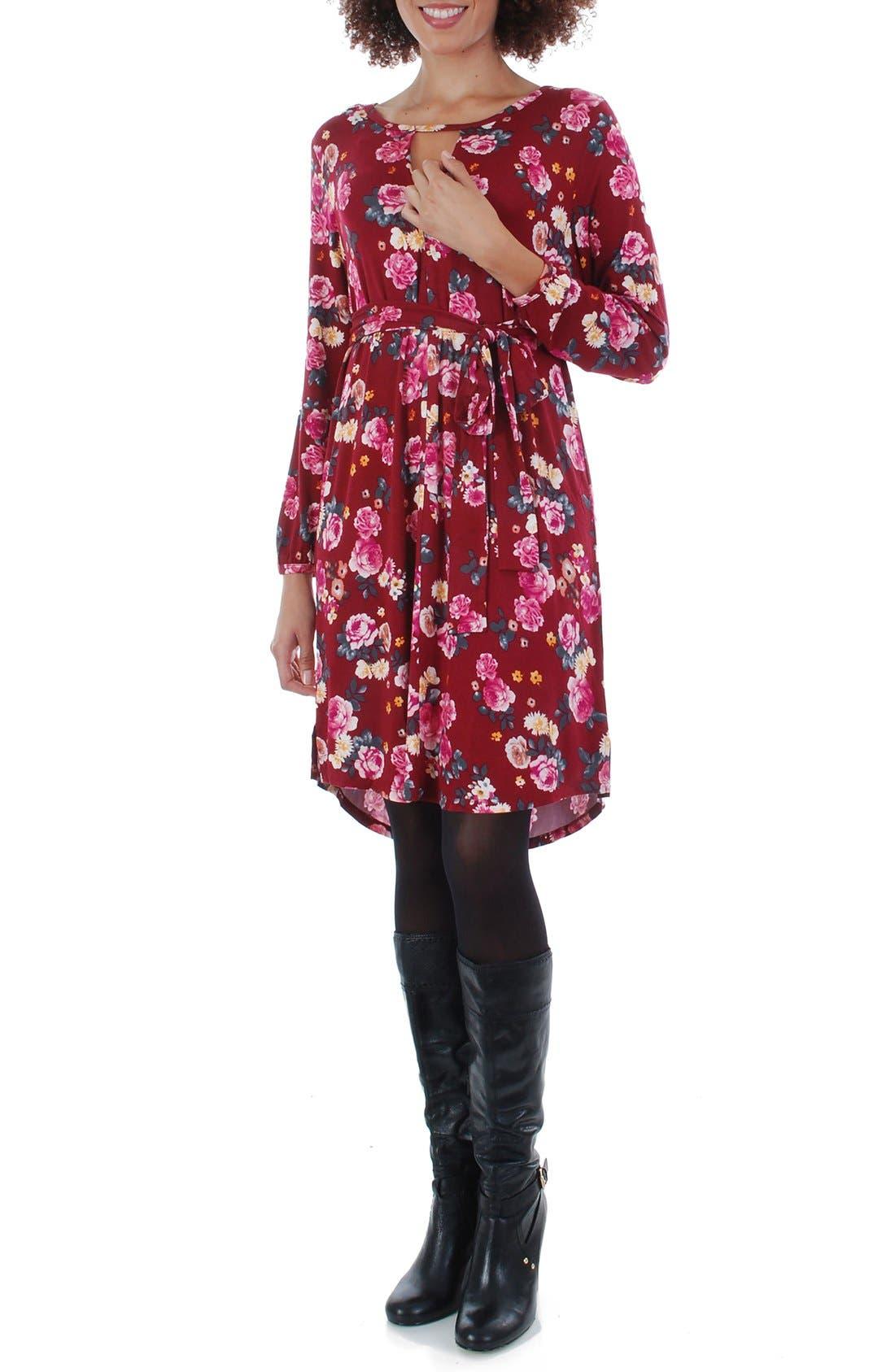 Lonni Maternity/Nursing Shirtdress,                         Main,                         color, BURGUNDY FLORAL