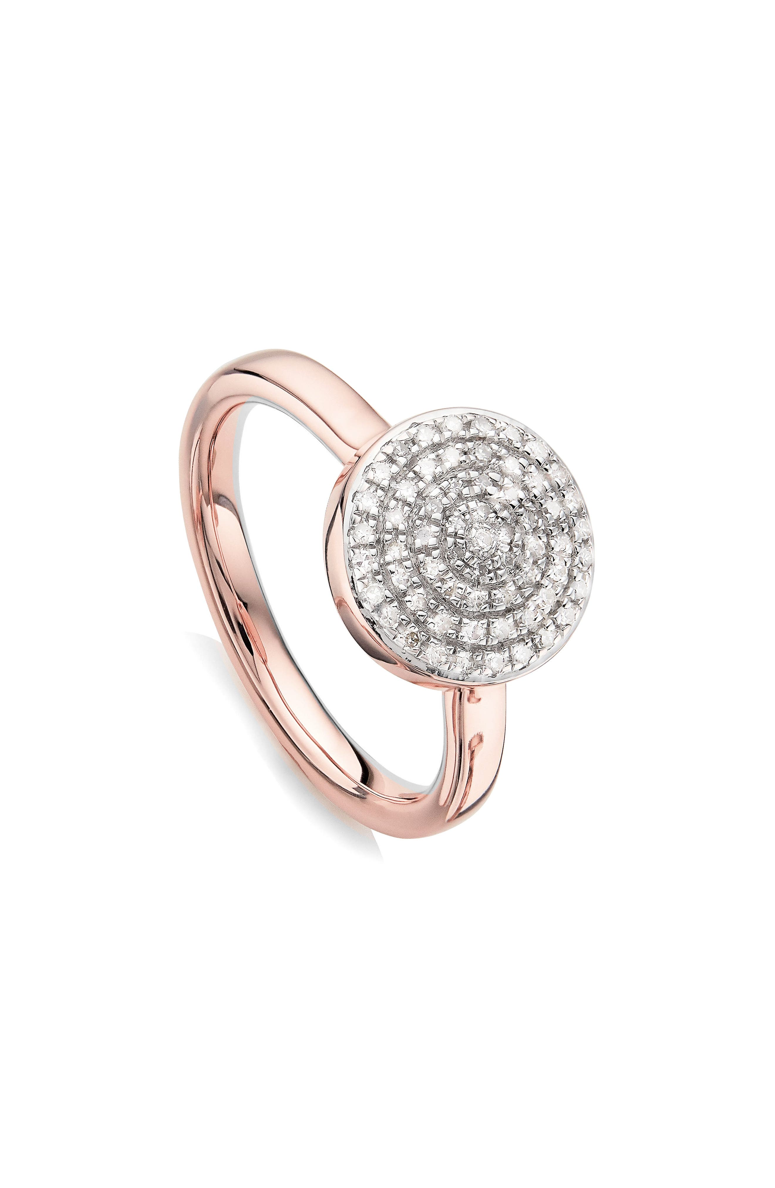 Fiji Large Diamond Button Stack Ring, Main, color, ROSE GOLD