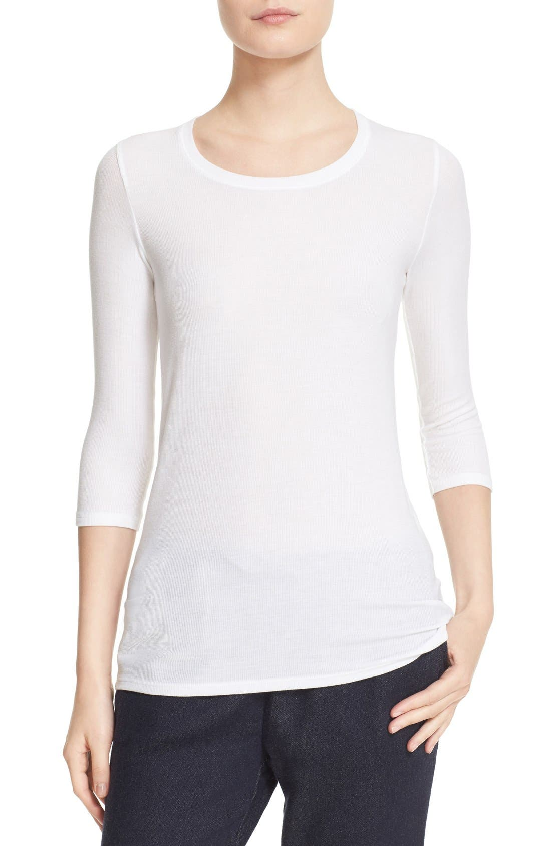 'Jackie' Long Sleeve Tee,                         Main,                         color, WHITE