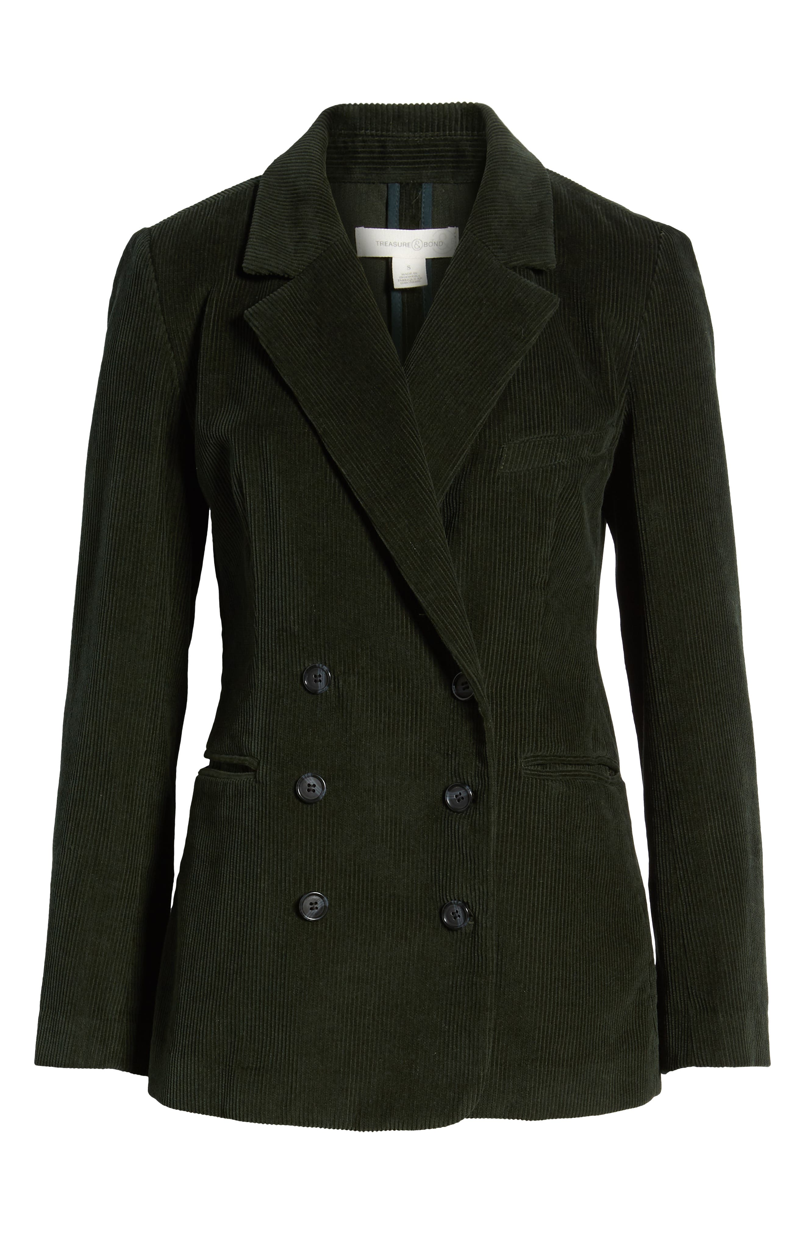 Double Breasted Corduroy Blazer,                             Alternate thumbnail 6, color,                             GREEN TIMBER
