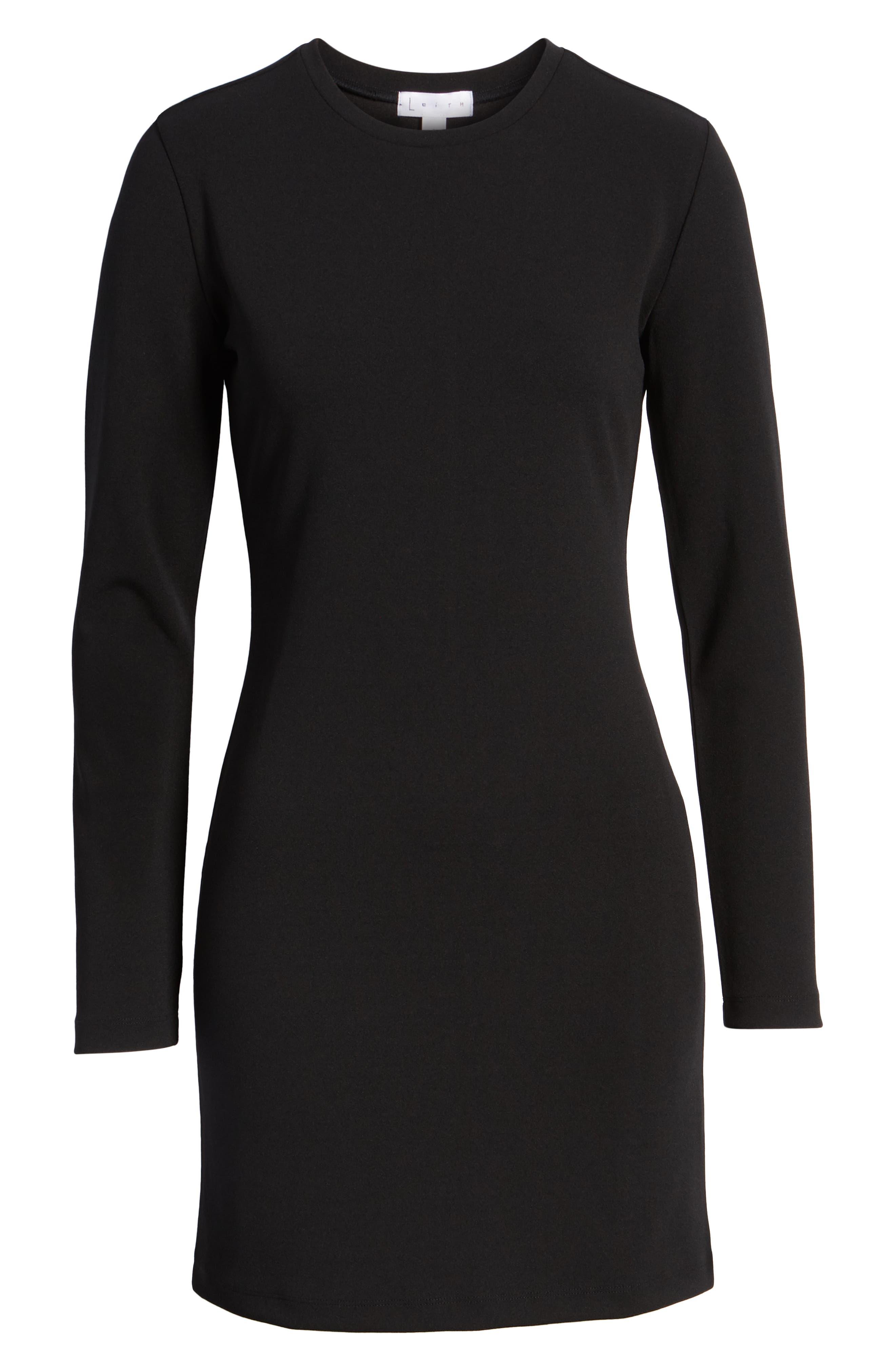 Long Sleeve Body-Con Dress,                             Alternate thumbnail 6, color,                             001