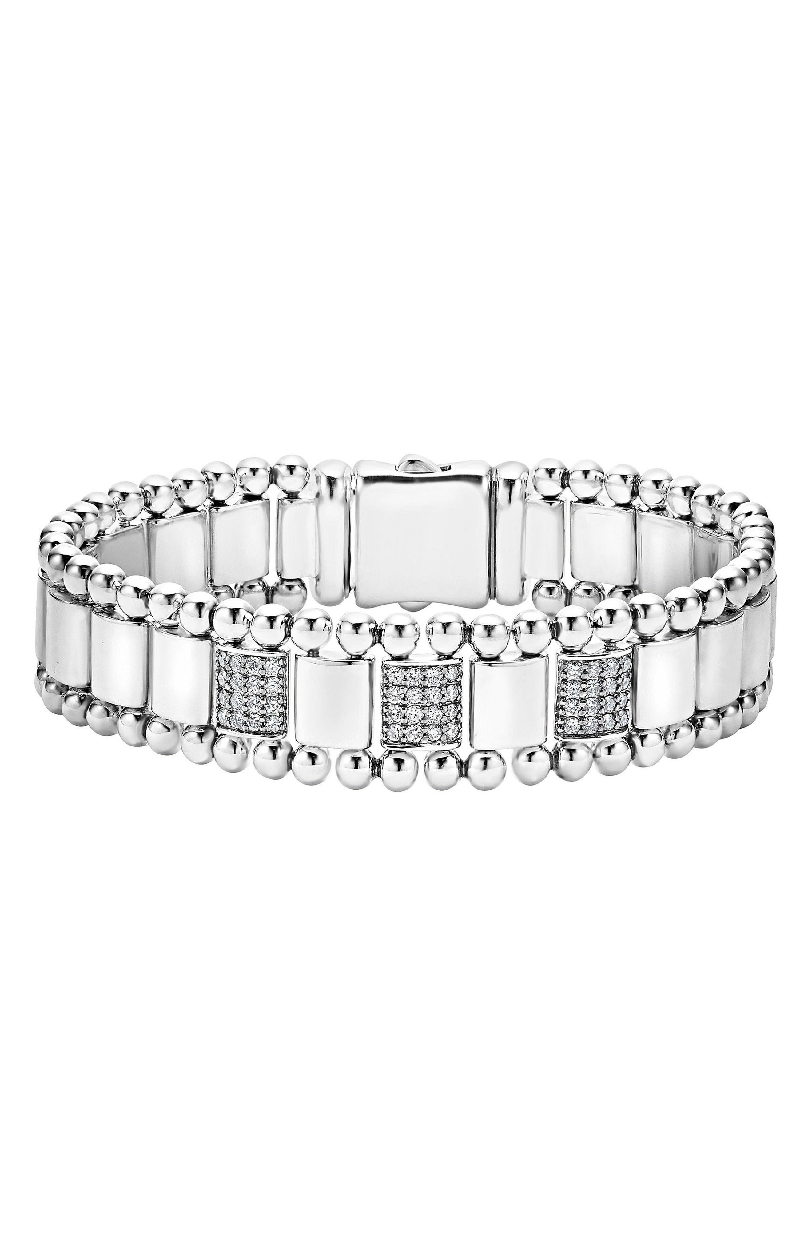 Caviar Spark Diamond Bracelet,                             Main thumbnail 1, color,                             SILVER