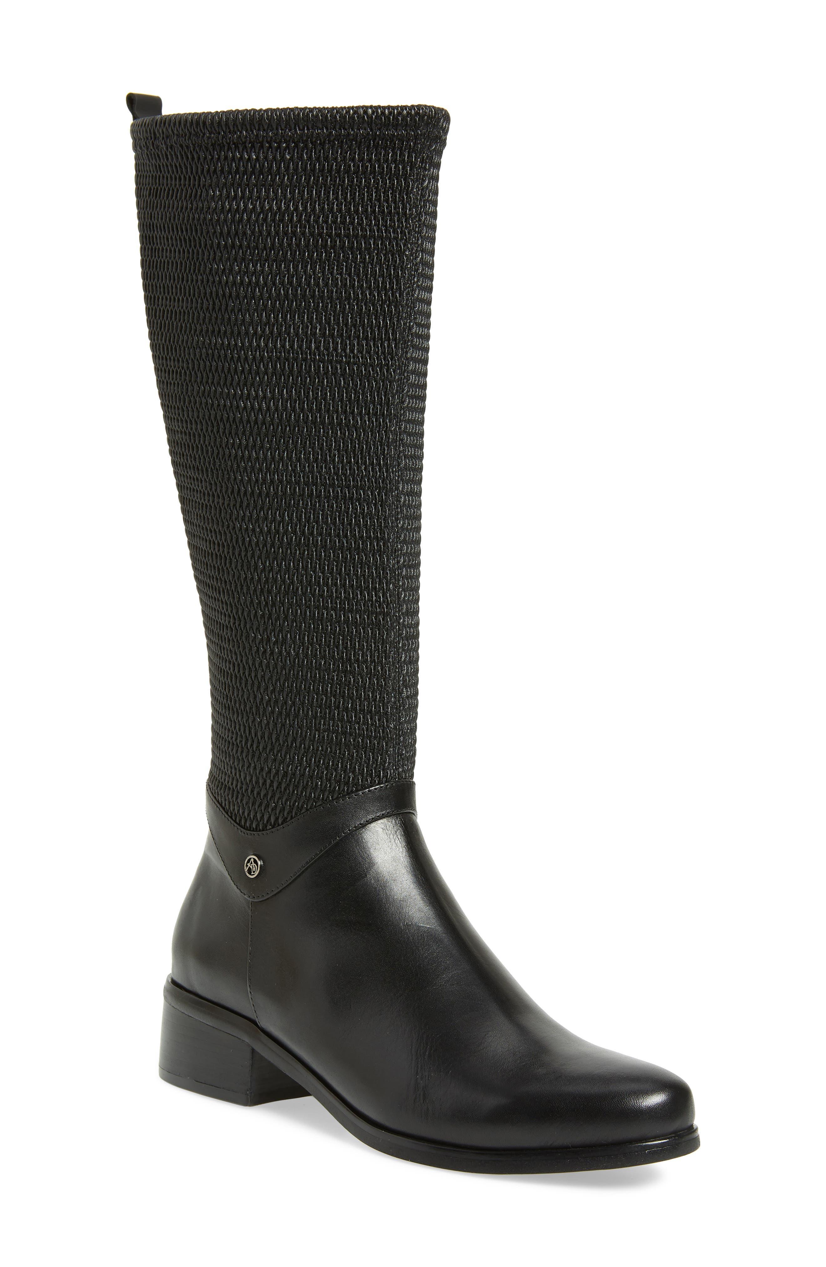 AQUADIVA,                             Kallena Waterproof Knee High Boot,                             Main thumbnail 1, color,                             BLACK LEATHER