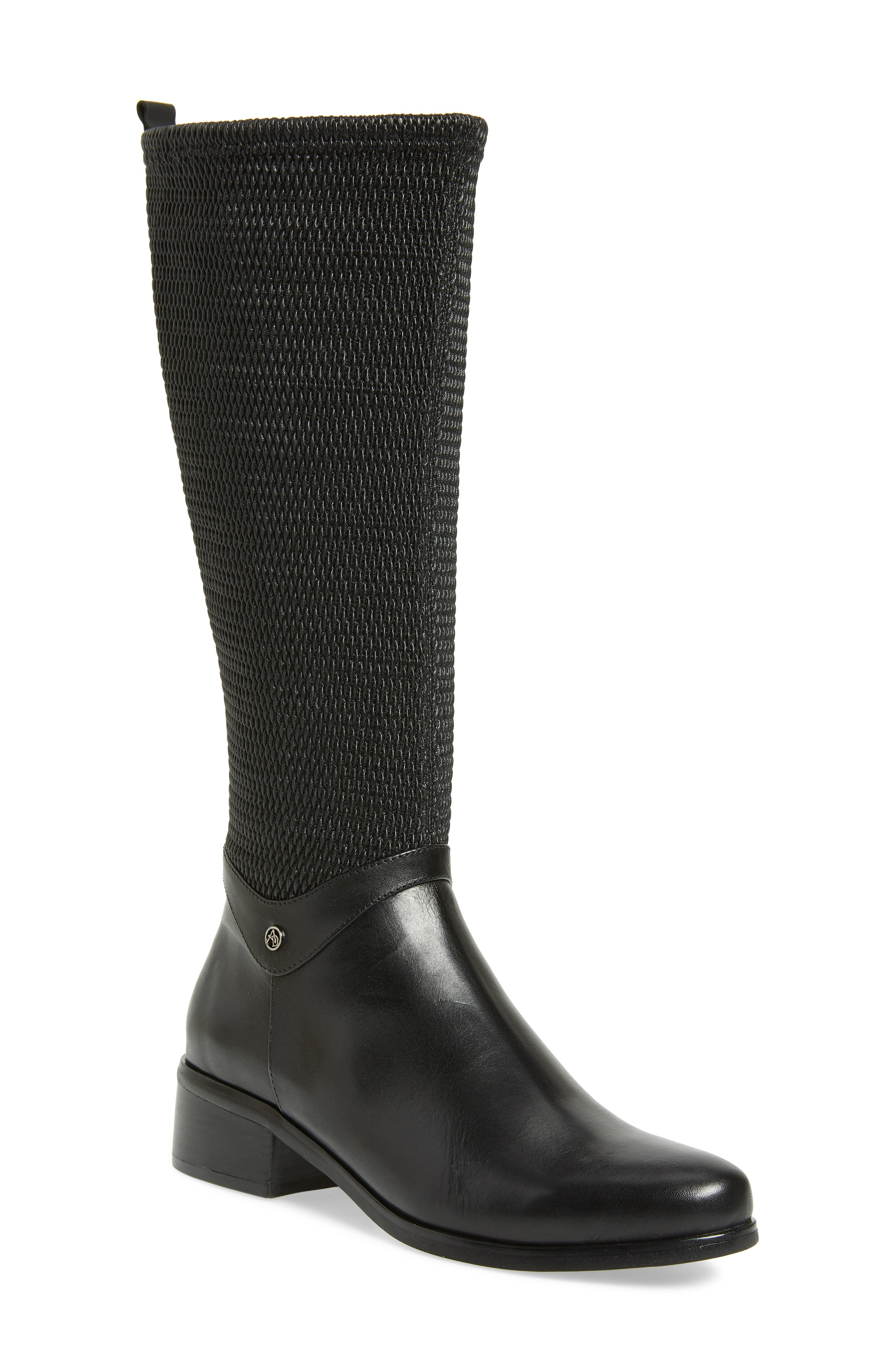 AQUADIVA Kallena Waterproof Knee High Boot, Main, color, BLACK LEATHER