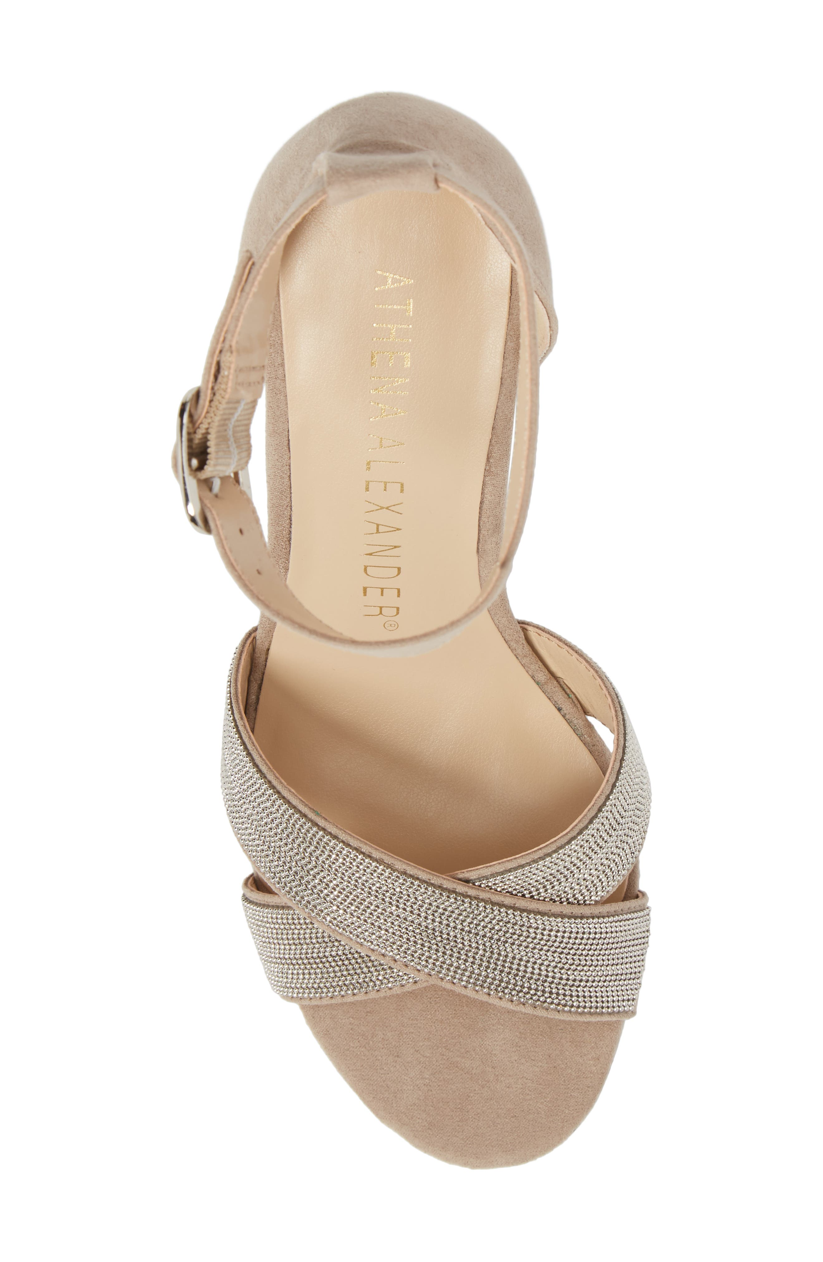 Zorra Wedge Sandal,                             Alternate thumbnail 5, color,                             TAUPE SUEDE