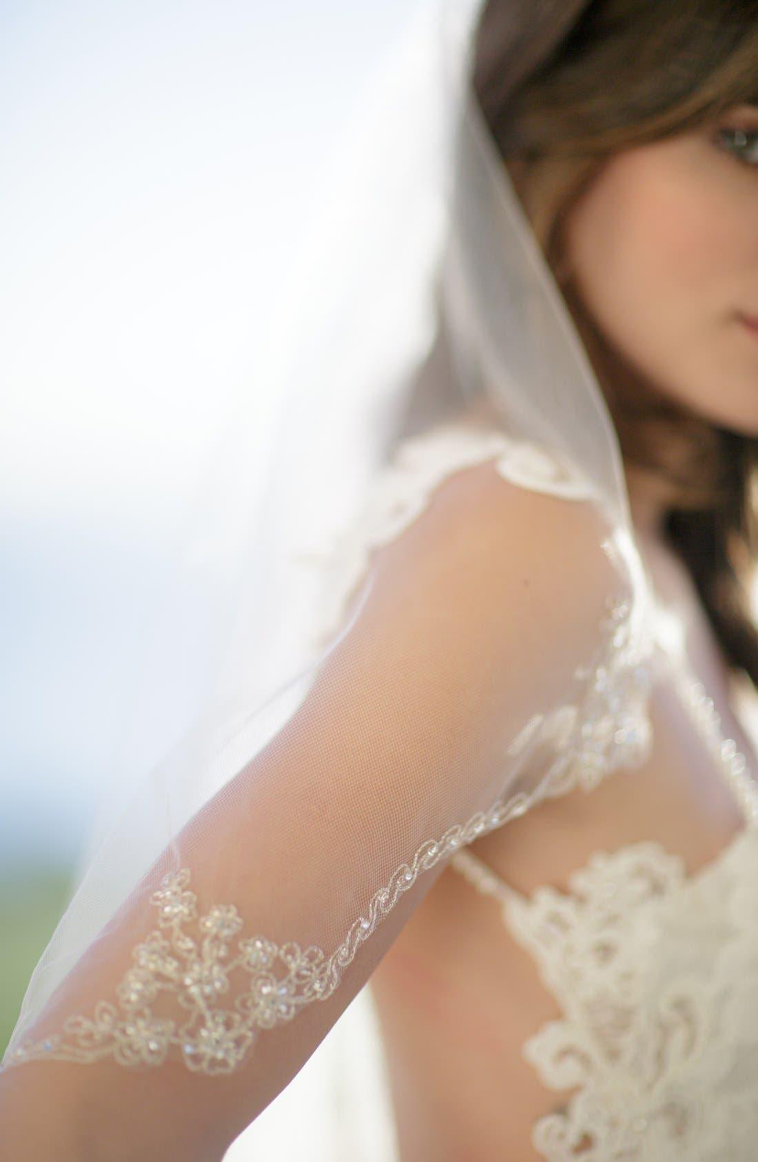 'Sophie' Embellished Tulle Veil,                             Alternate thumbnail 4, color,                             IVORY