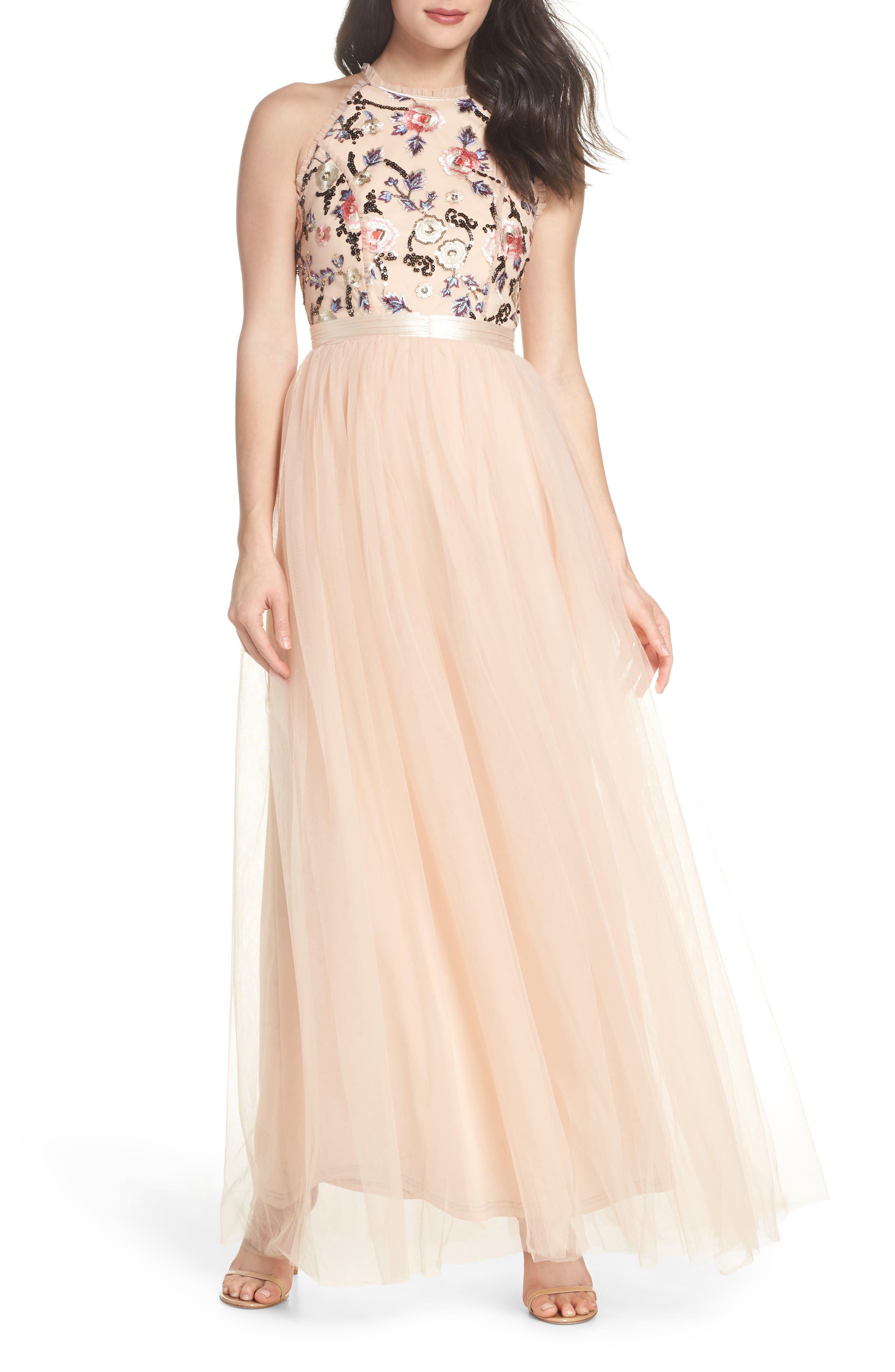 Cydney Sequin Bodice Gown, Main, color, NUDE