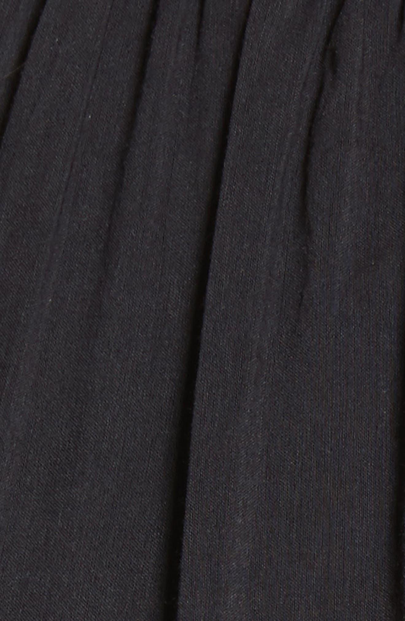 Danit Embroidered Stripe Cotton & Silk Dress,                             Alternate thumbnail 5, color,                             001