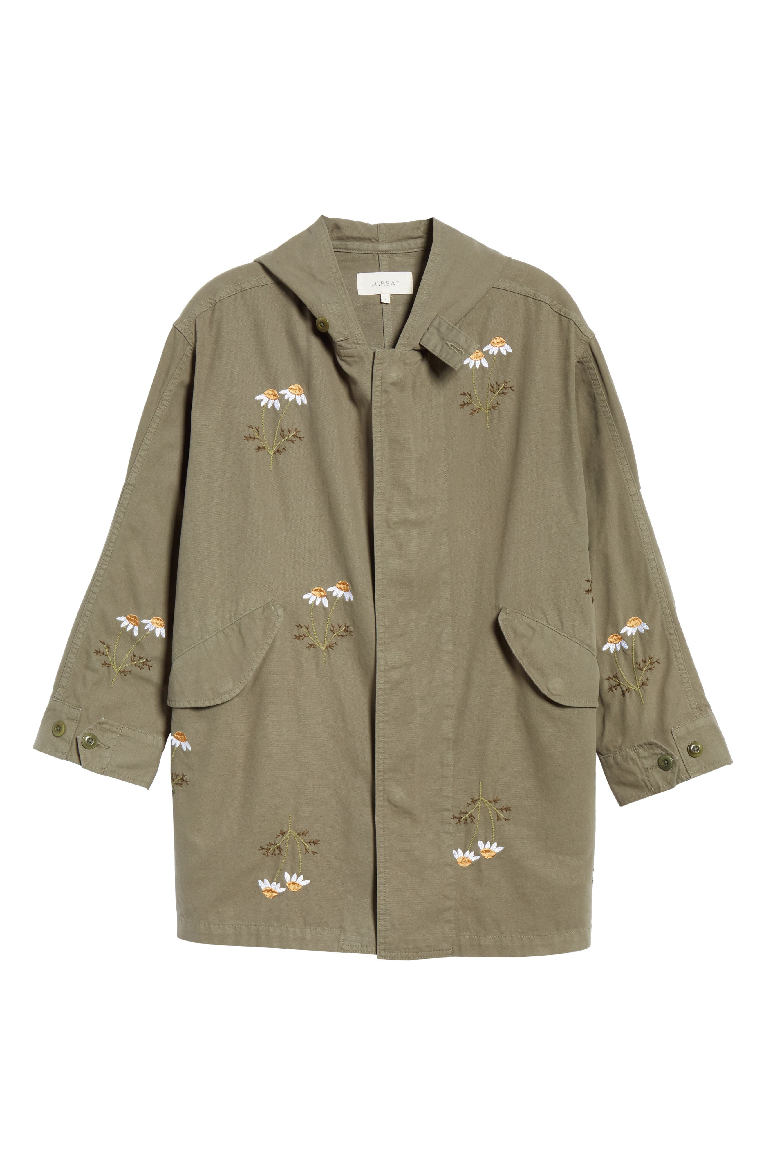 Embroidered Military Parka,                             Alternate thumbnail 5, color,                             ARMY GREEN W/ DAISY