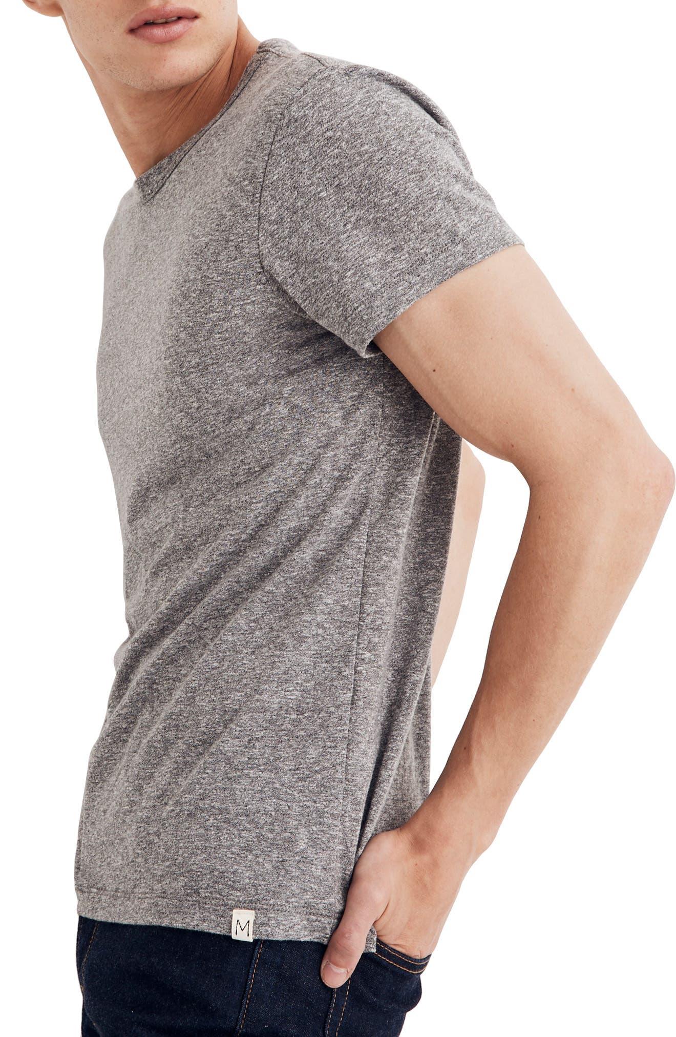 MADEWELL,                             Crewneck T-Shirt,                             Alternate thumbnail 3, color,                             HEATHER GREY