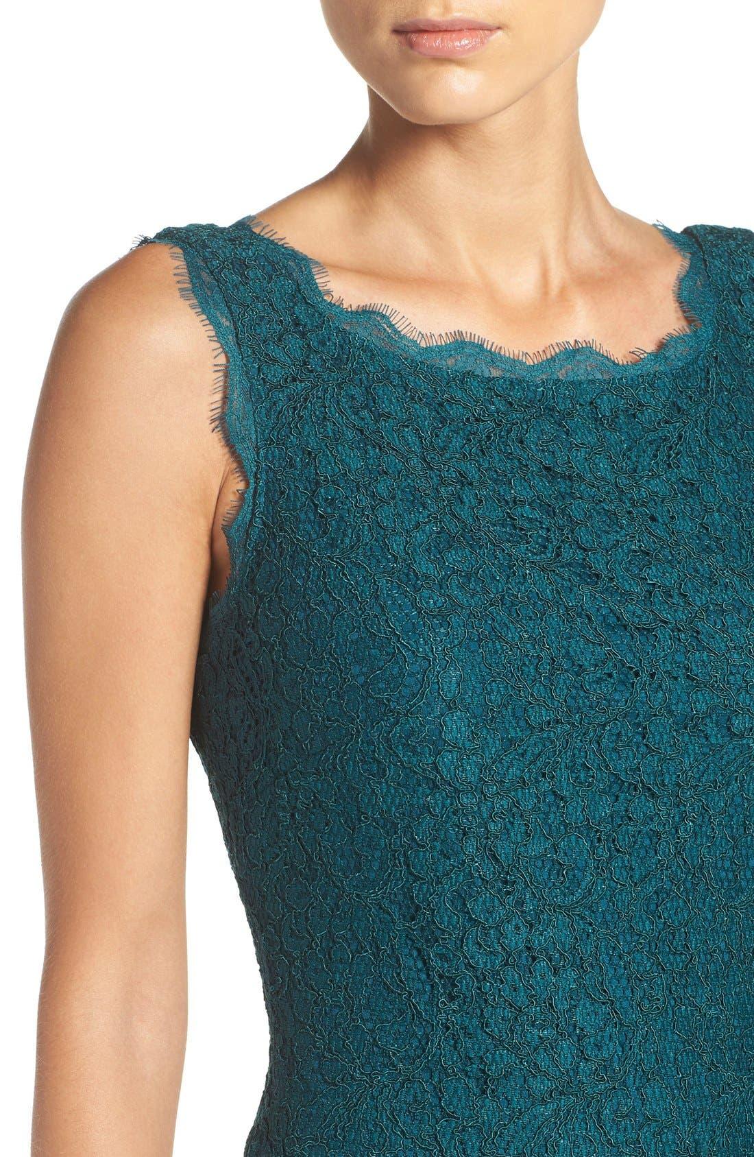 Boatneck Lace Sheath Dress,                             Alternate thumbnail 104, color,