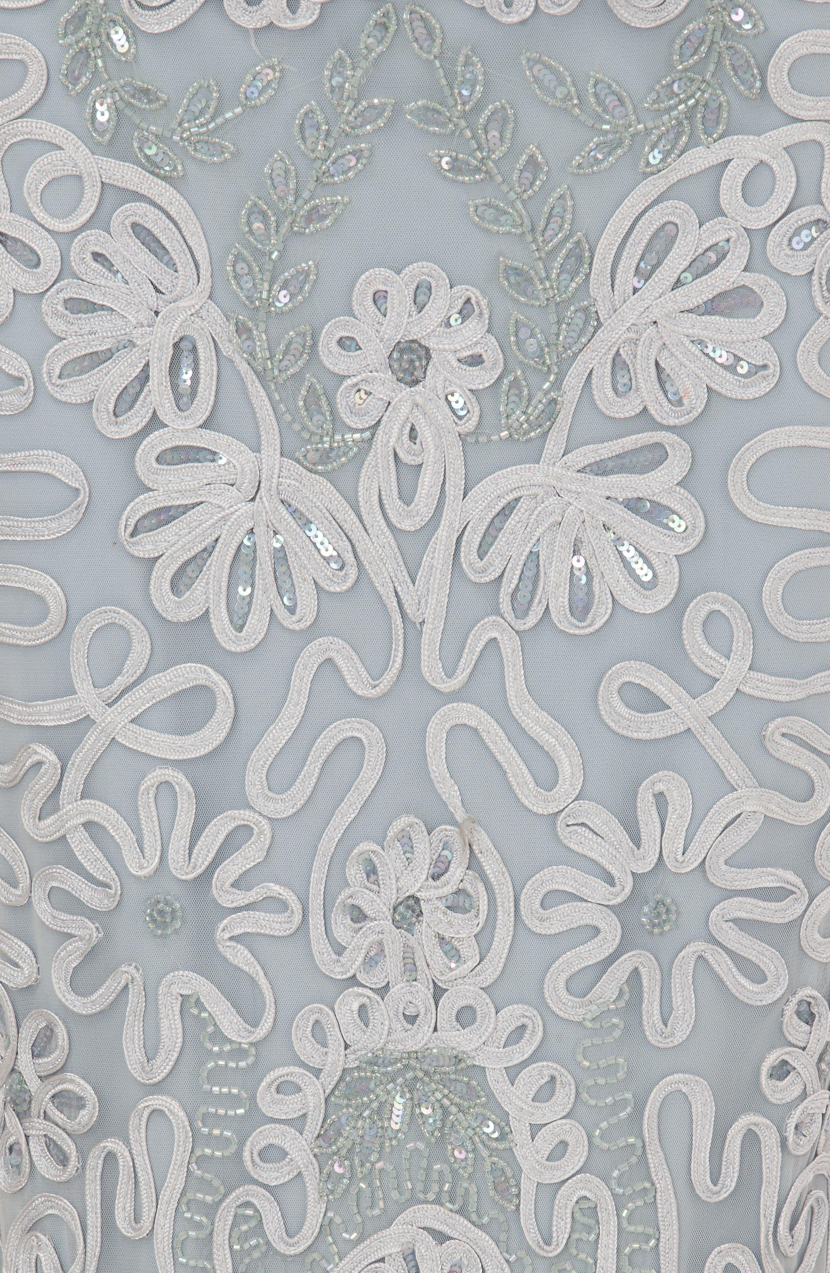 Soutache Embroidered Trumpet Gown,                             Alternate thumbnail 4, color,                             415