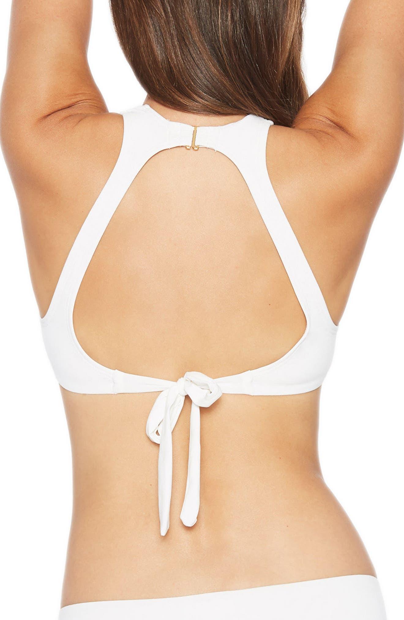 Ava High Neck Open Bikini Top,                             Alternate thumbnail 2, color,                             100