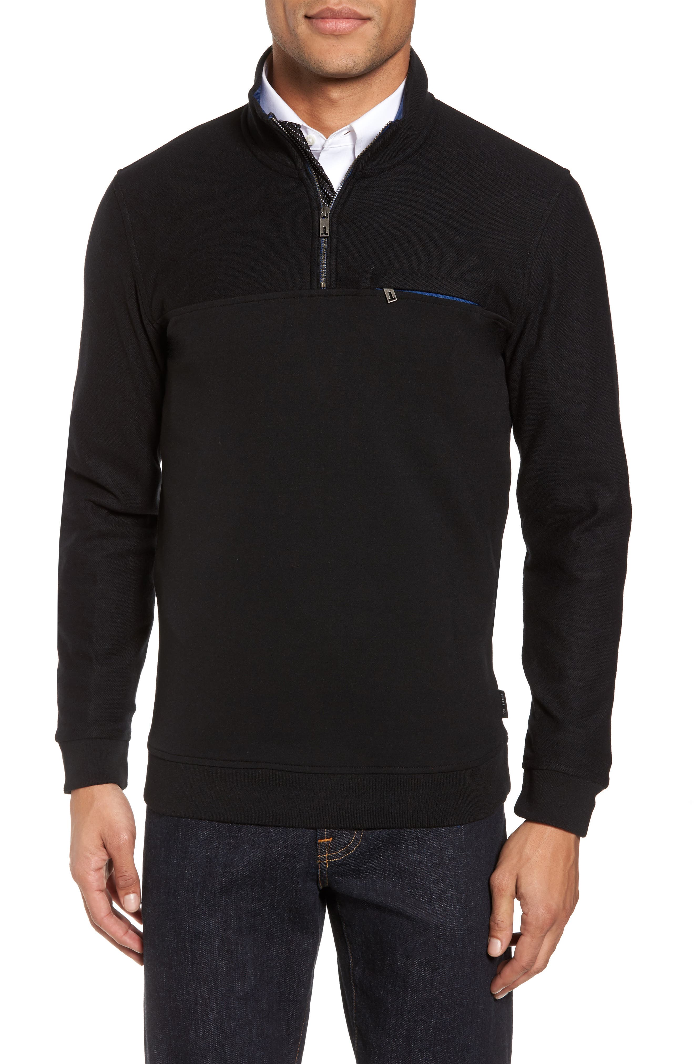 Livstay Slim Fit Quarter Zip Pullover,                             Main thumbnail 1, color,                             001