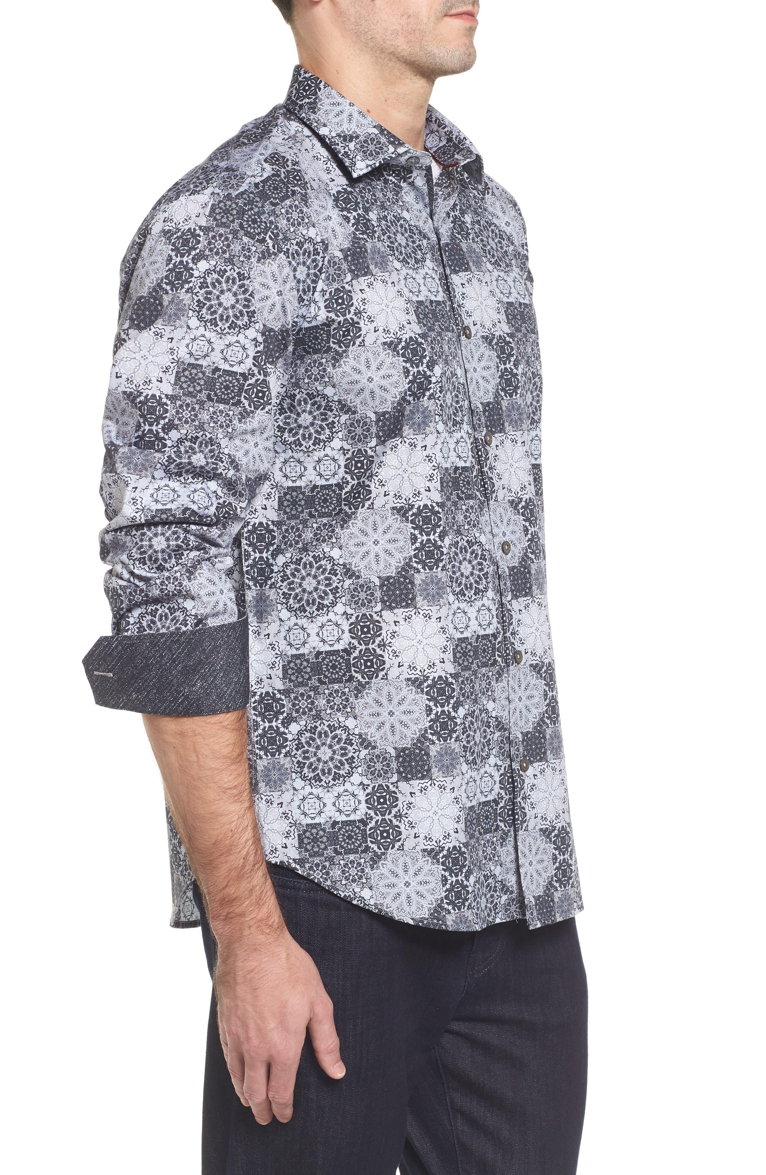 Slim Fit Collage Print Sport Shirt,                             Alternate thumbnail 3, color,                             020