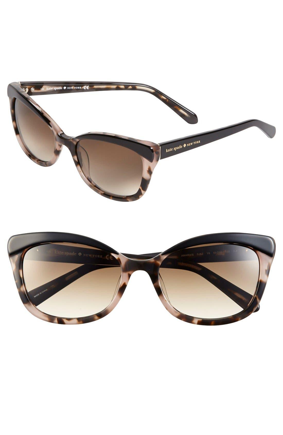 'amaras' 55mm sunglasses,                             Main thumbnail 1, color,                             BLACK/ BLUSH TORT