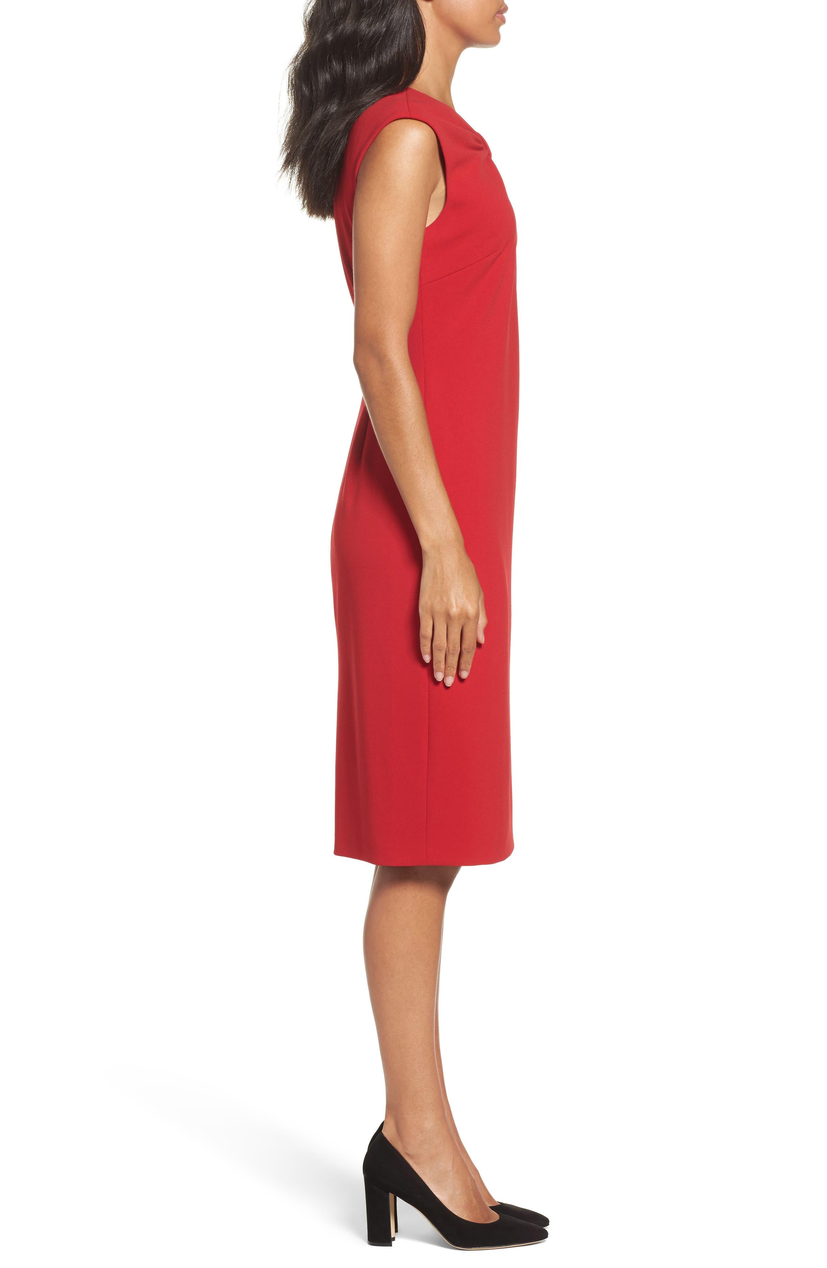 Knotted Scuba Sheath Dress,                             Alternate thumbnail 3, color,                             600