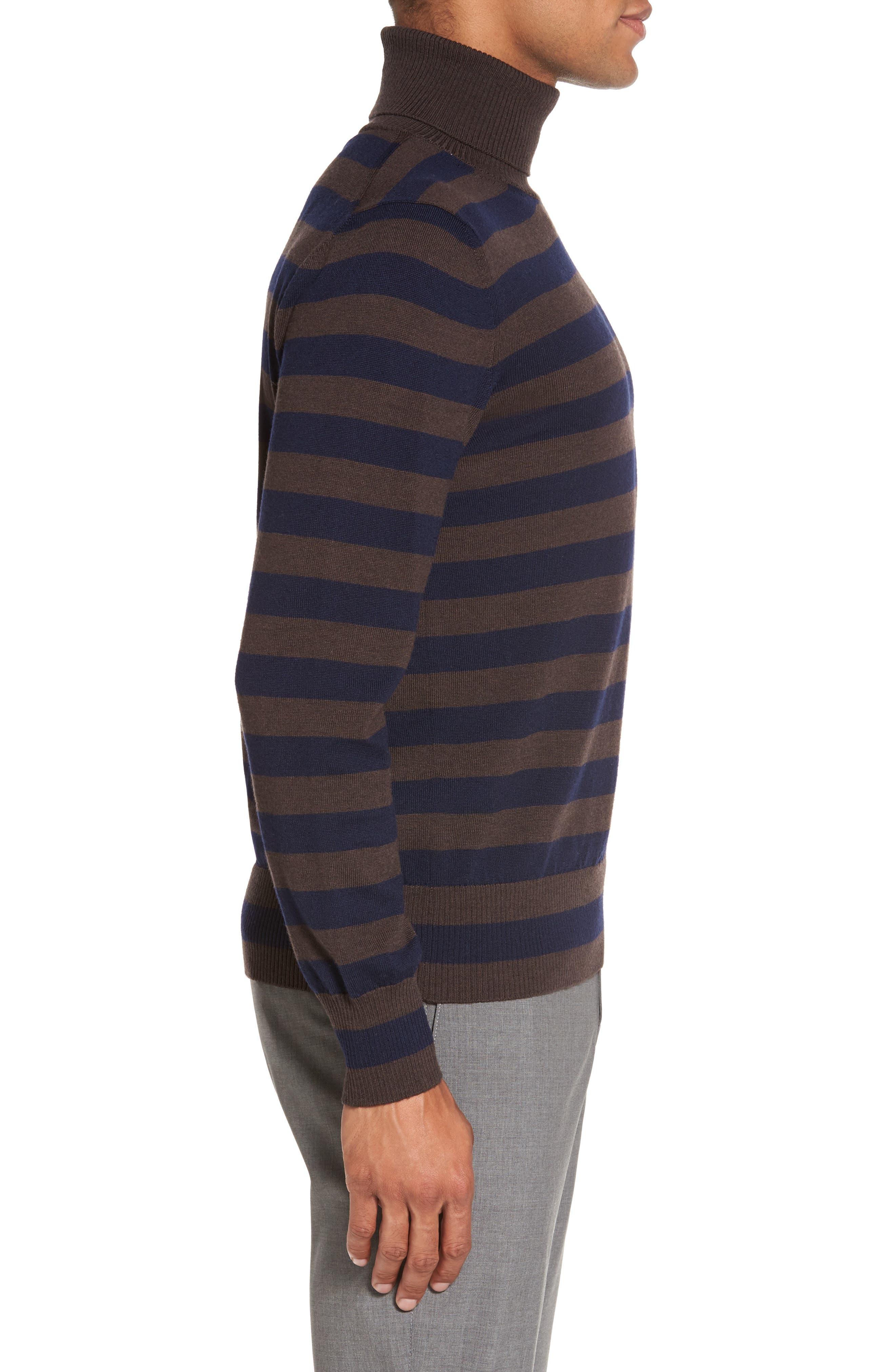 Striped Turtleneck Sweater,                             Alternate thumbnail 3, color,                             204