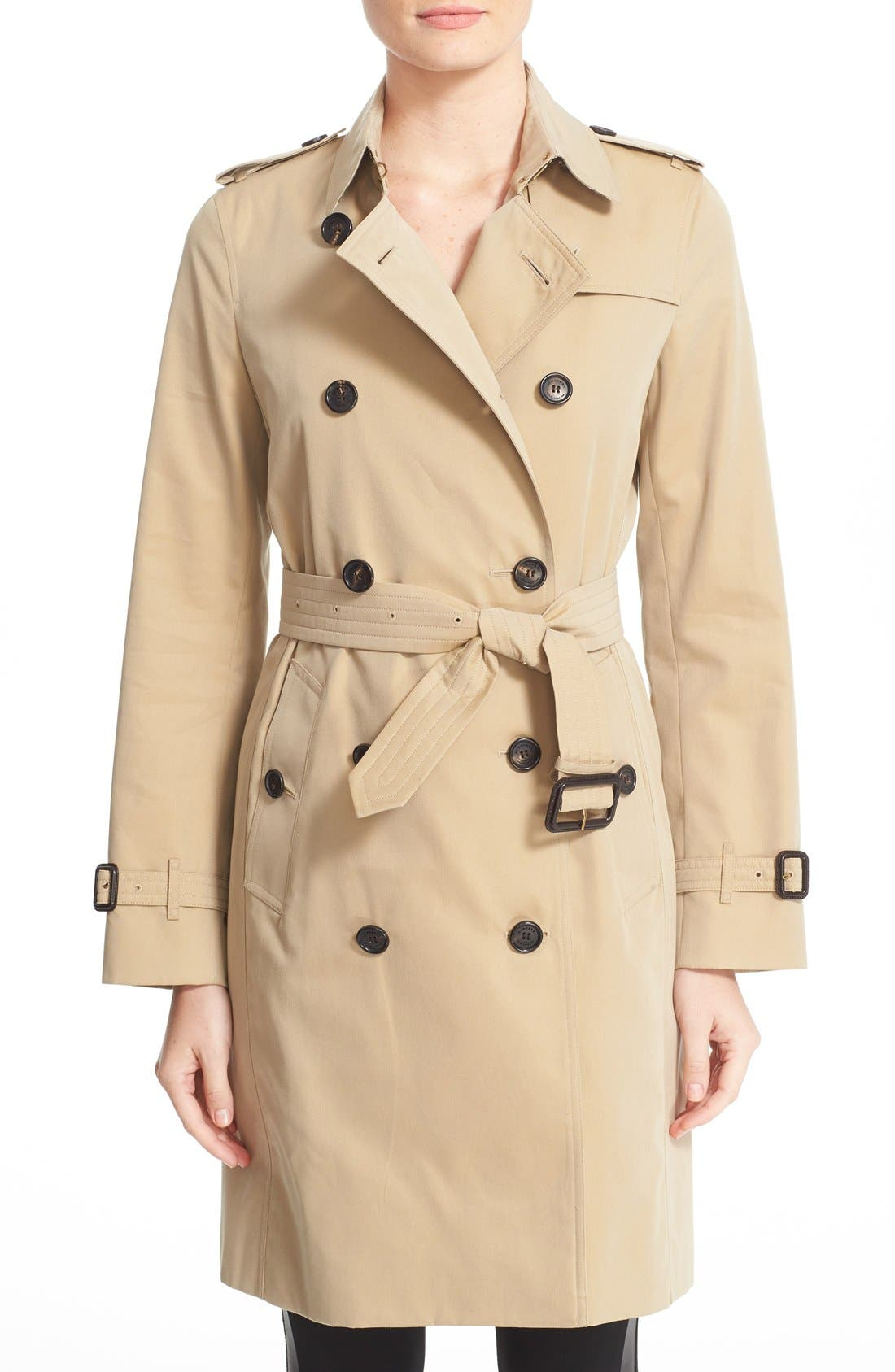 BURBERRY,                             Kensington Long Trench Coat,                             Main thumbnail 1, color,                             HONEY
