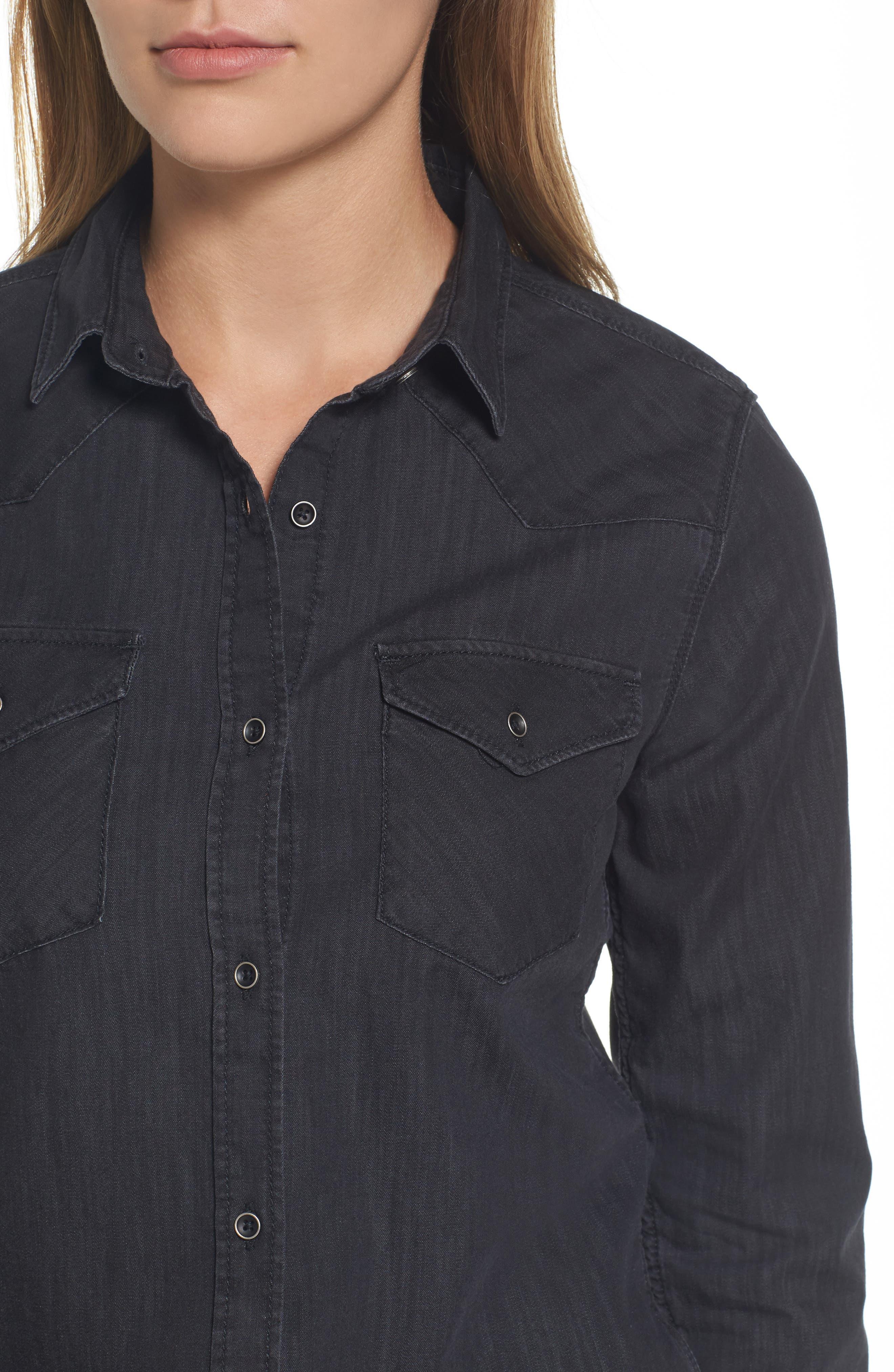 Isabel Denim Shirt,                             Alternate thumbnail 4, color,                             001