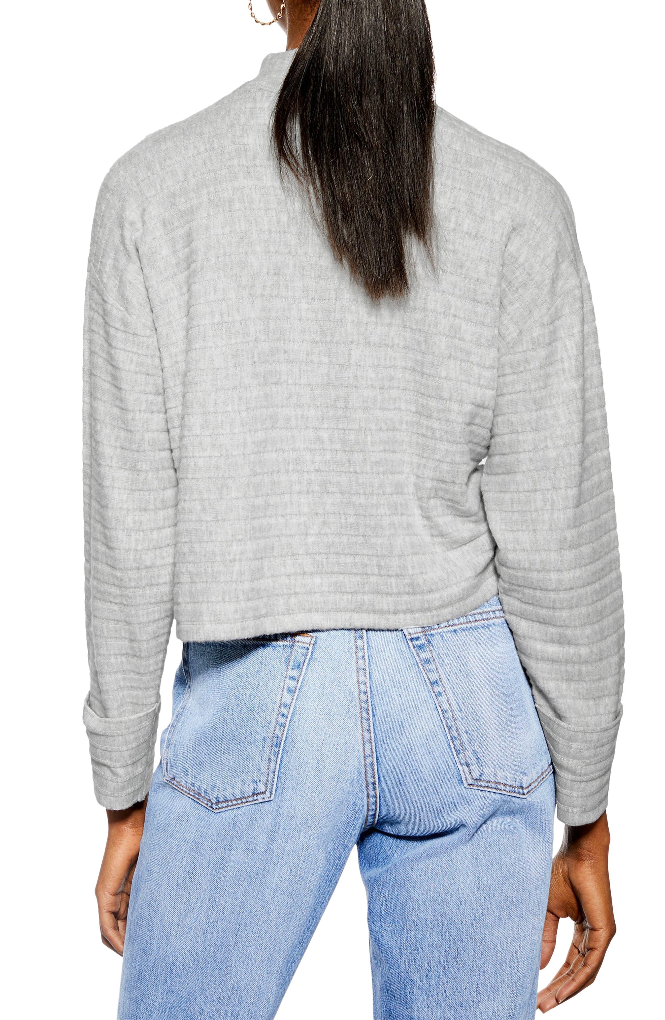 Chunky Rib Cut & Sew Pullover,                             Alternate thumbnail 2, color,                             GREY
