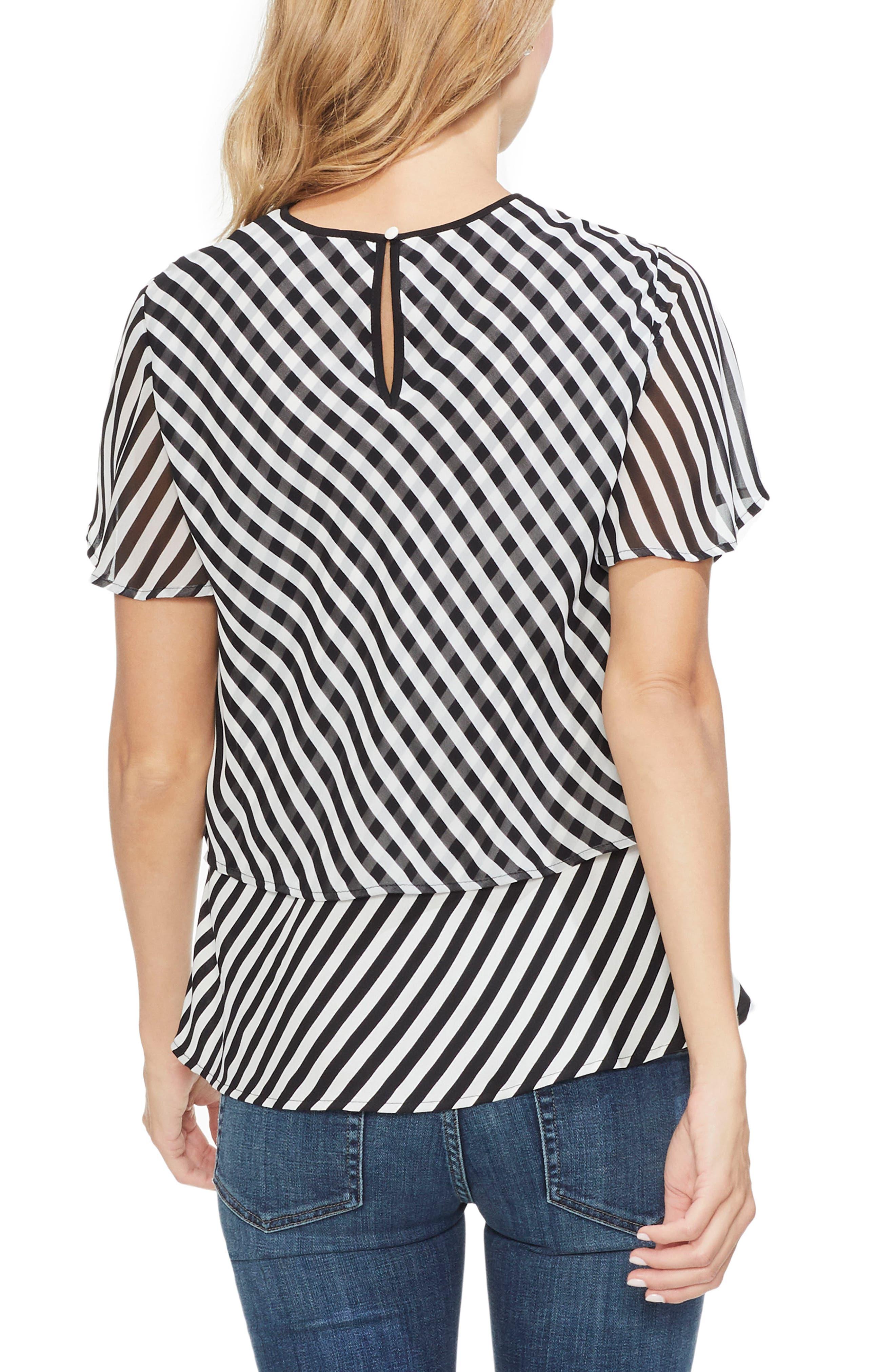 Stripe Layered Top,                             Alternate thumbnail 2, color,                             RICH BLACK