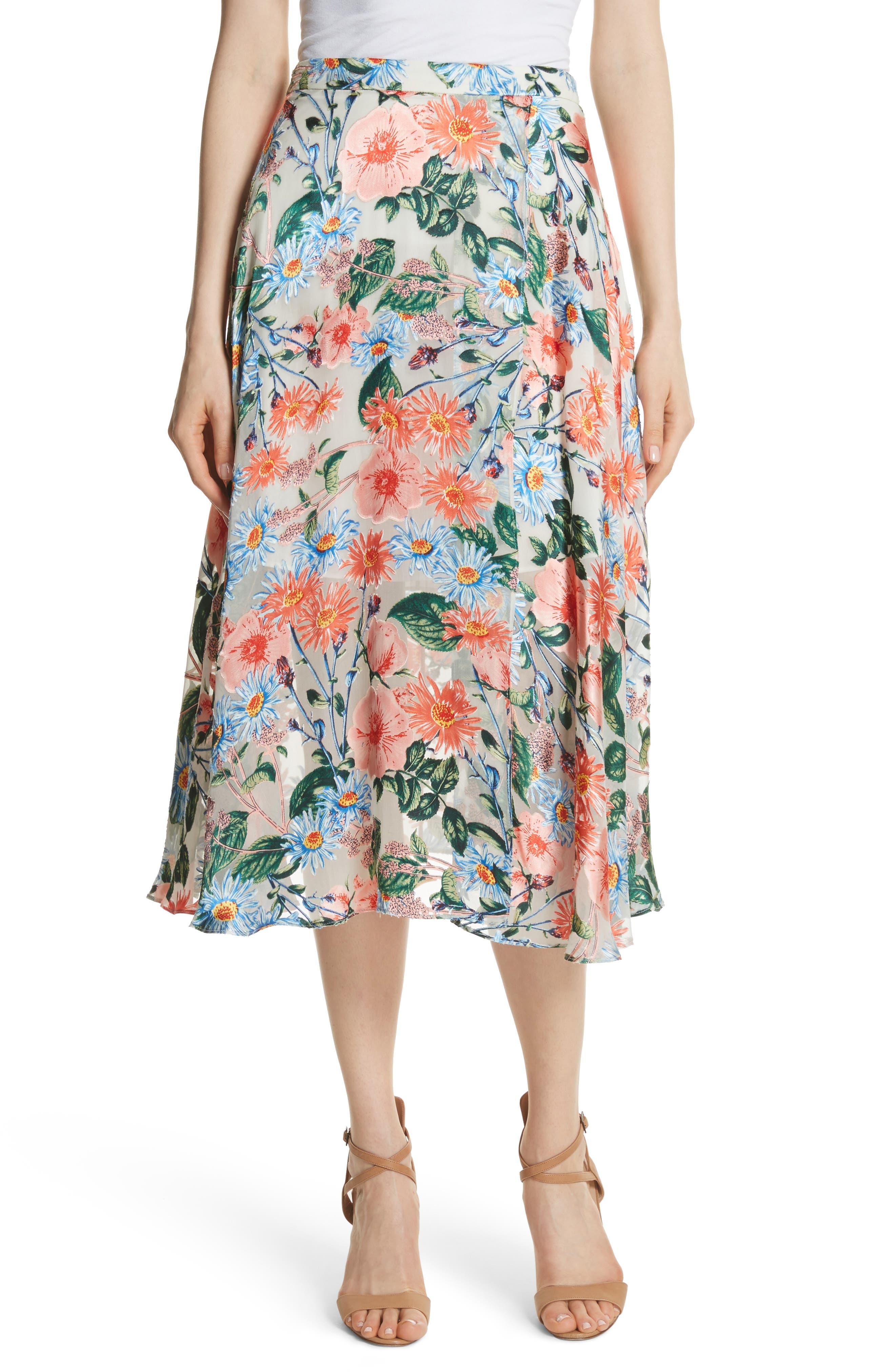 Nanette Floral Faux Wrap Skirt,                         Main,                         color, 470