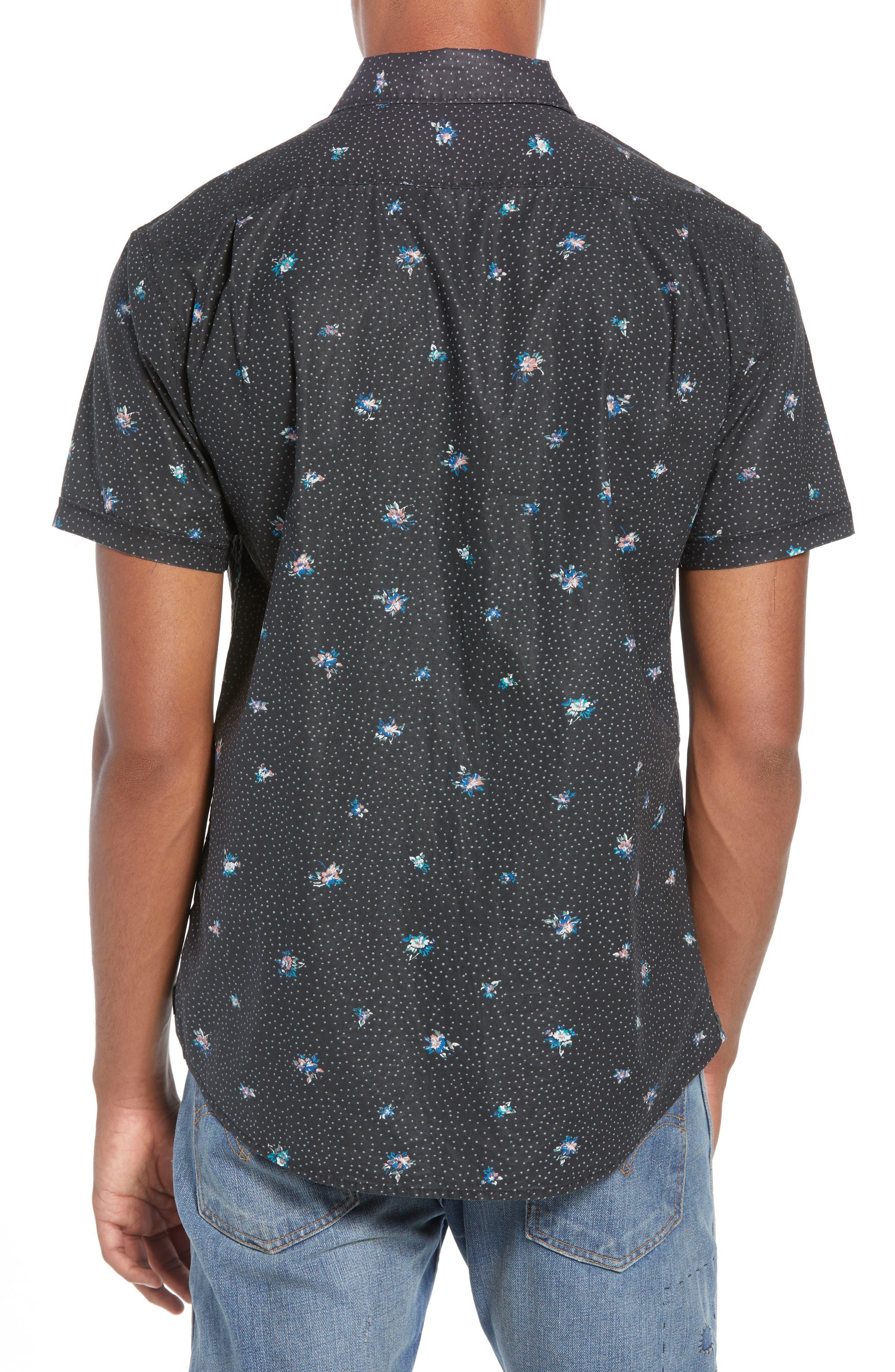 Scattered Print Woven Shirt,                             Alternate thumbnail 2, color,                             RVCA BLACK