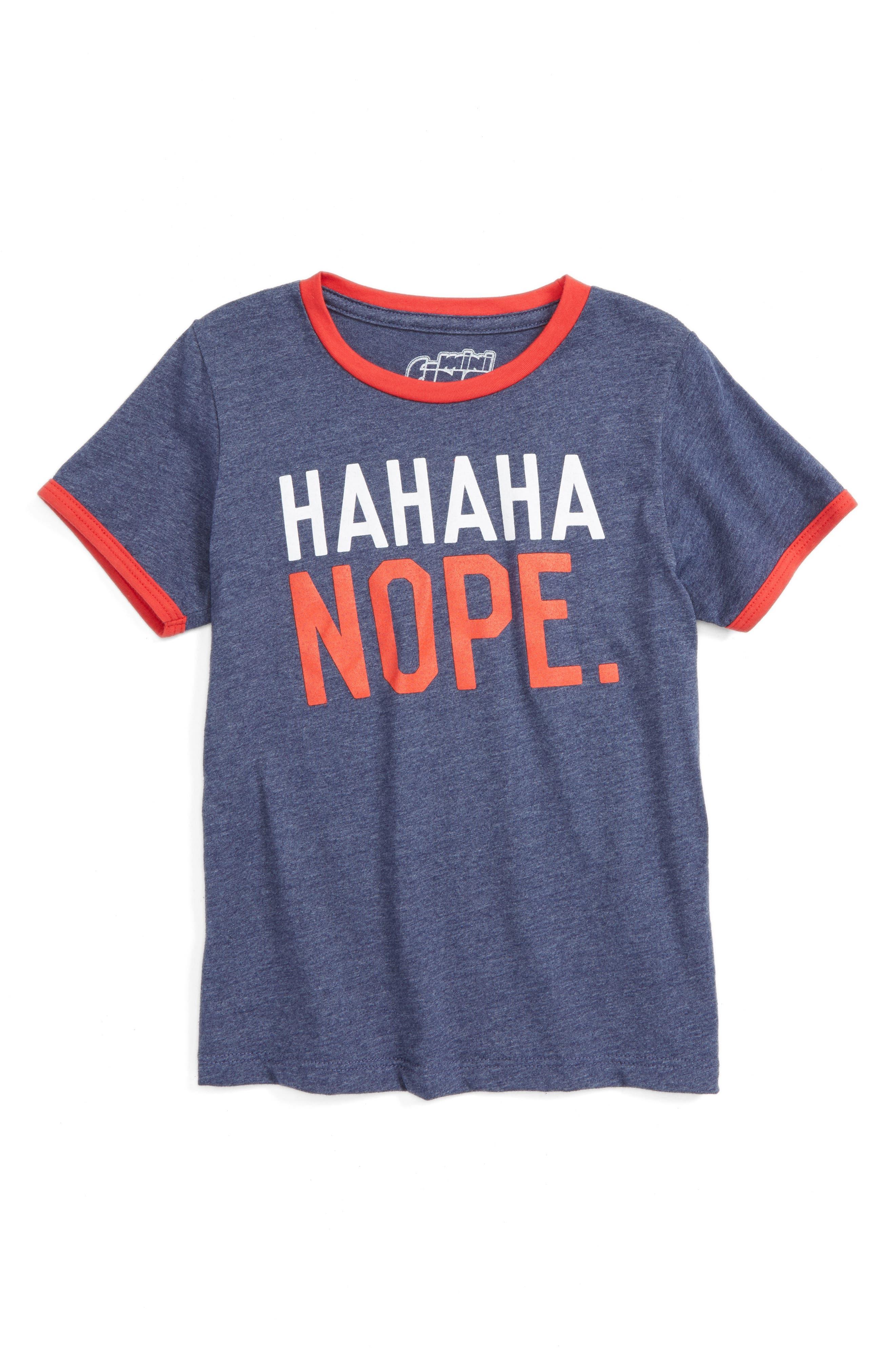 Hahaha Nope Graphic T-Shirt, Main, color, 401