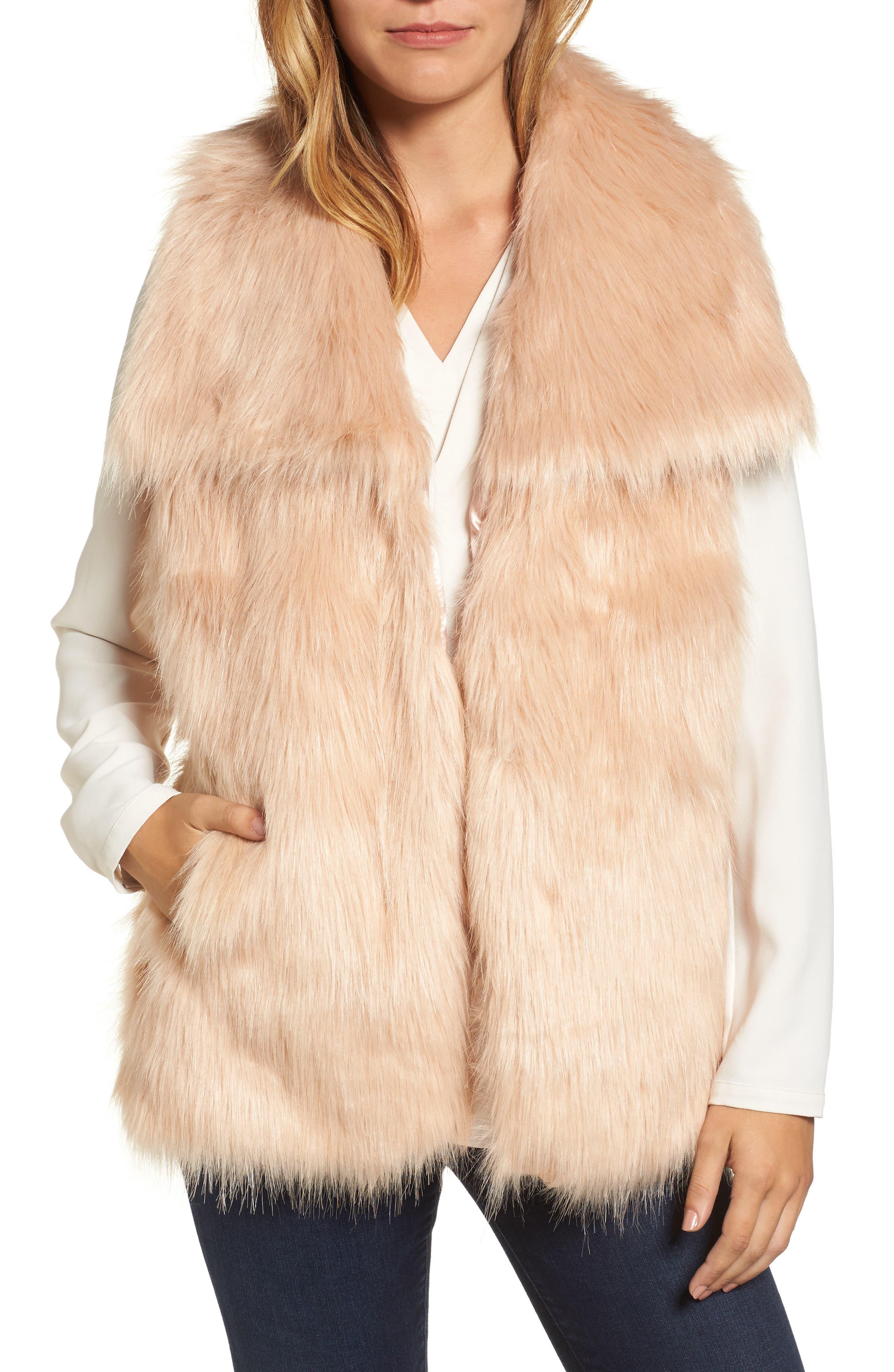 Faux Fur Vest,                             Main thumbnail 2, color,