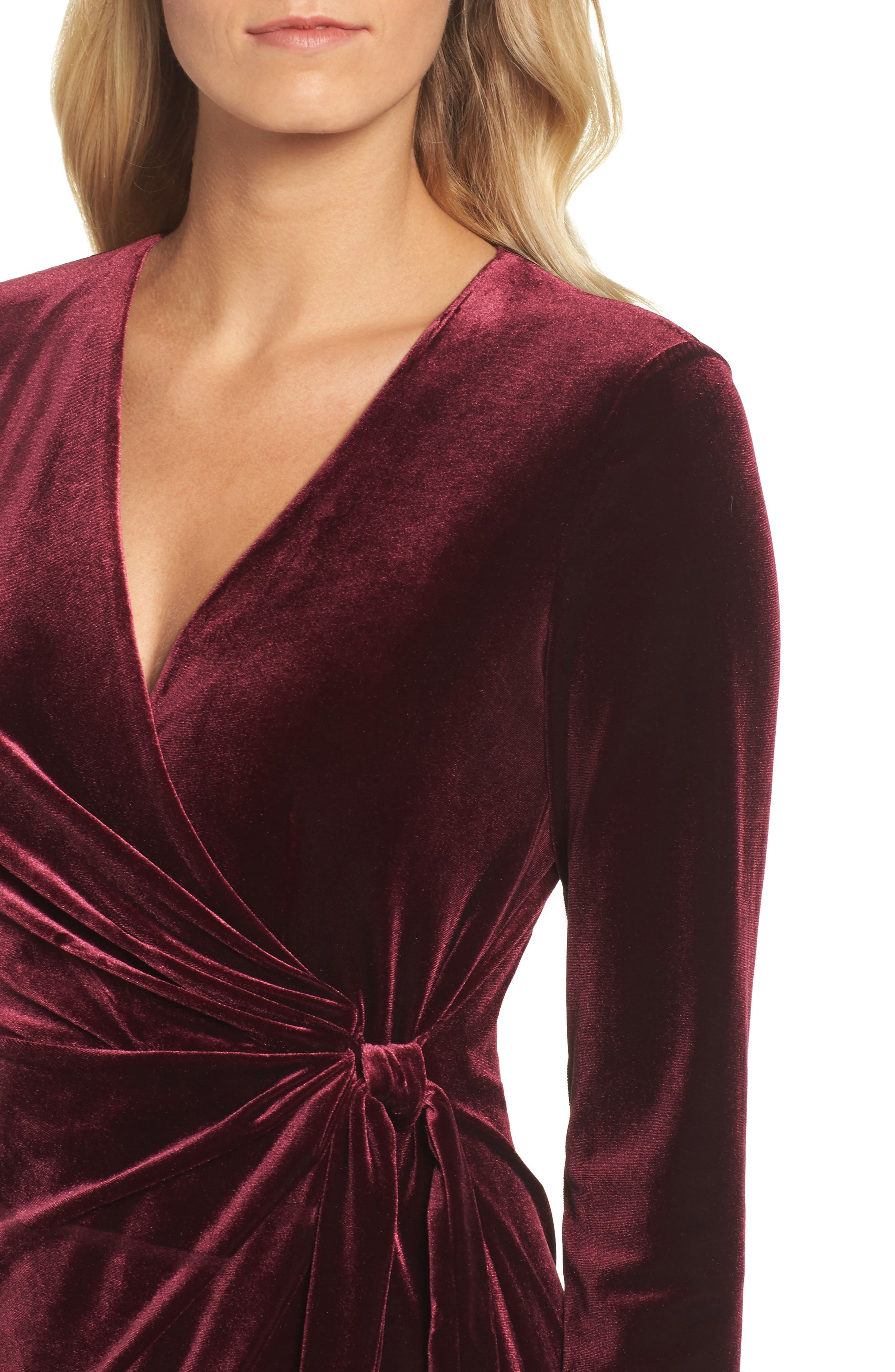 Velvet Faux Wrap Dress,                             Alternate thumbnail 4, color,                             931