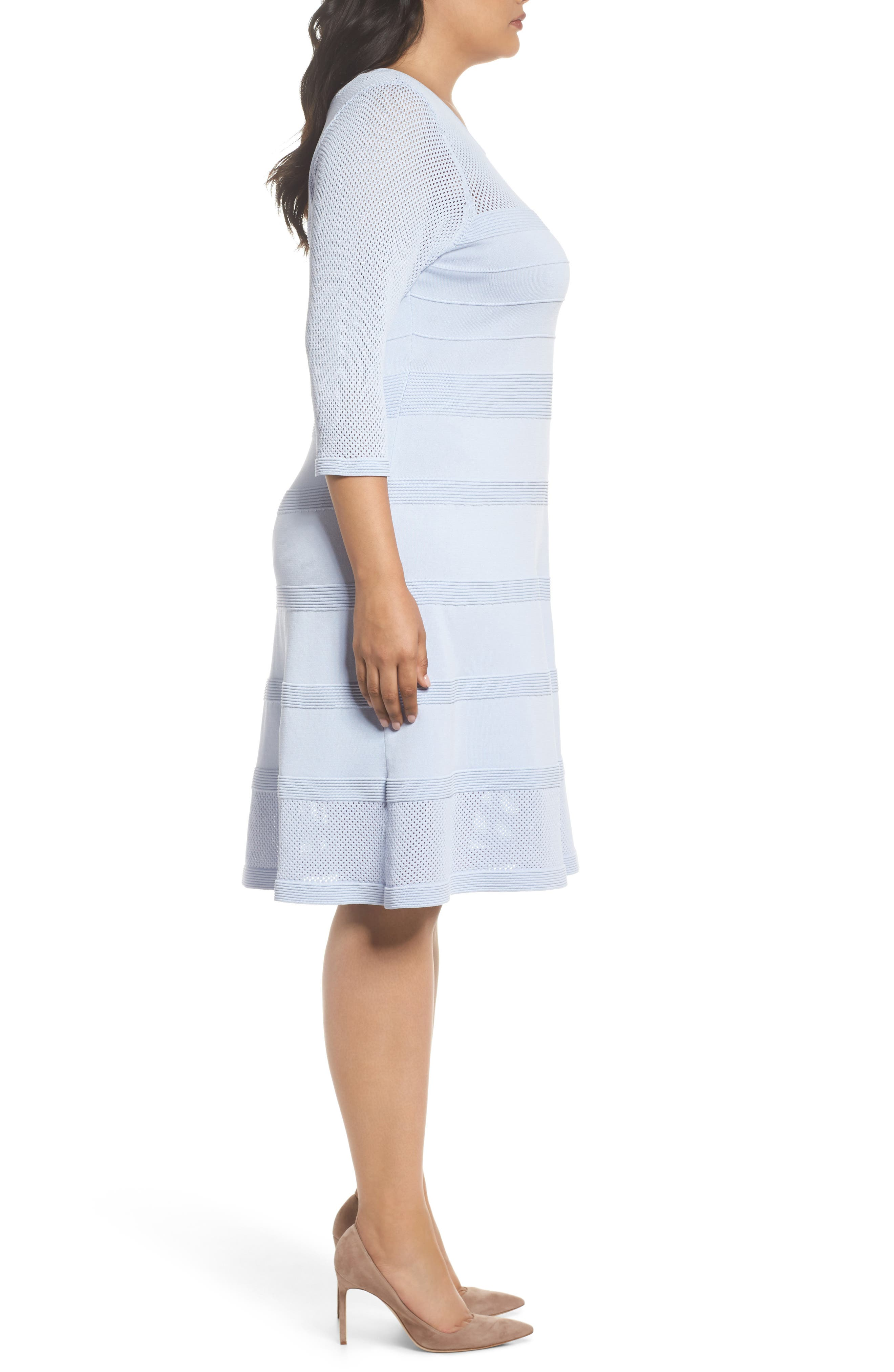 Mixed Stitch Pointelle Fit & Flare Dress,                             Alternate thumbnail 3, color,                             421