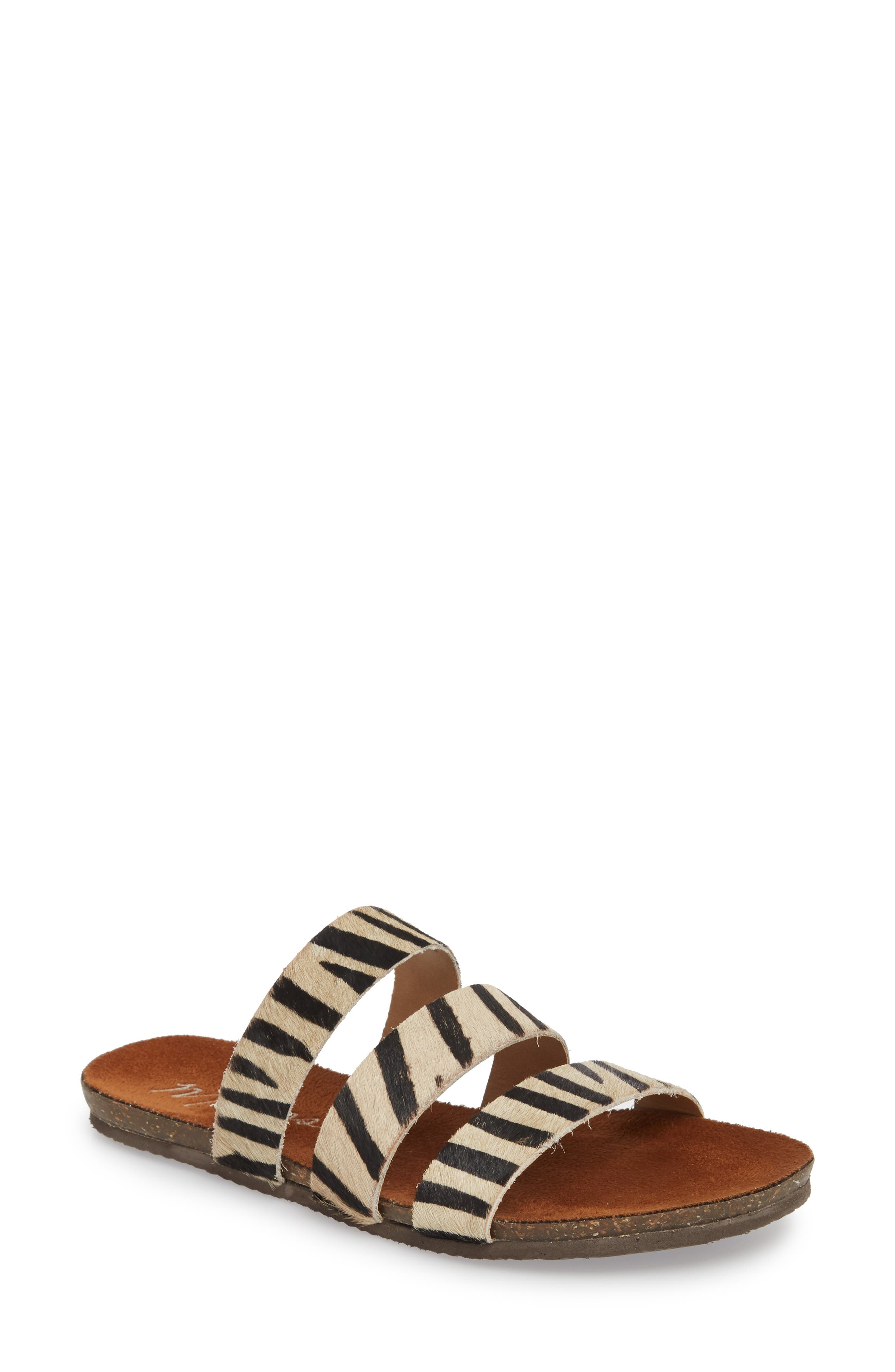 Florence Slide Sandal,                         Main,                         color, ZEBRA CALF HAIR